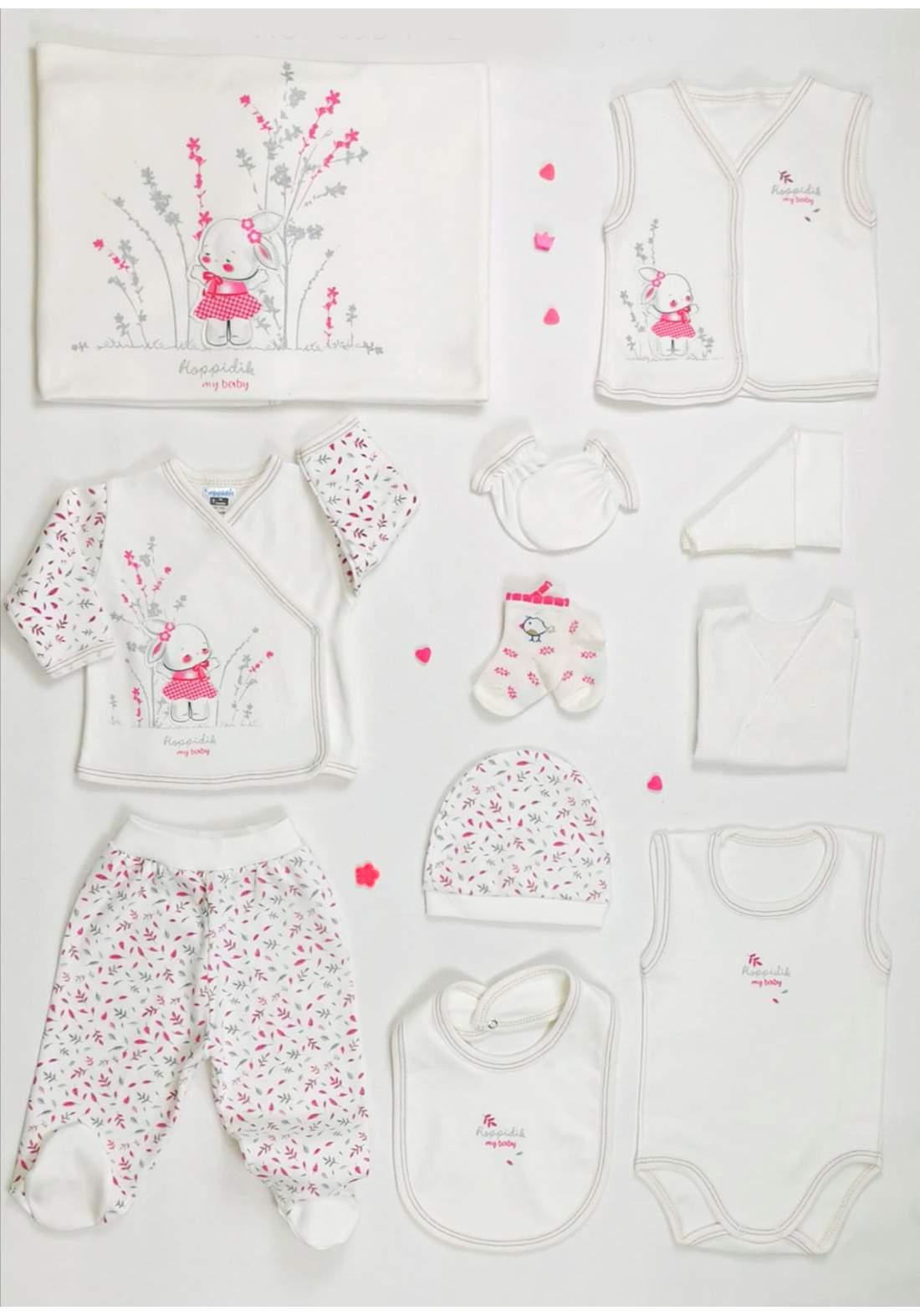 سيت بناتي للاطفال حديثي الولادة وردي وابيض  اللون