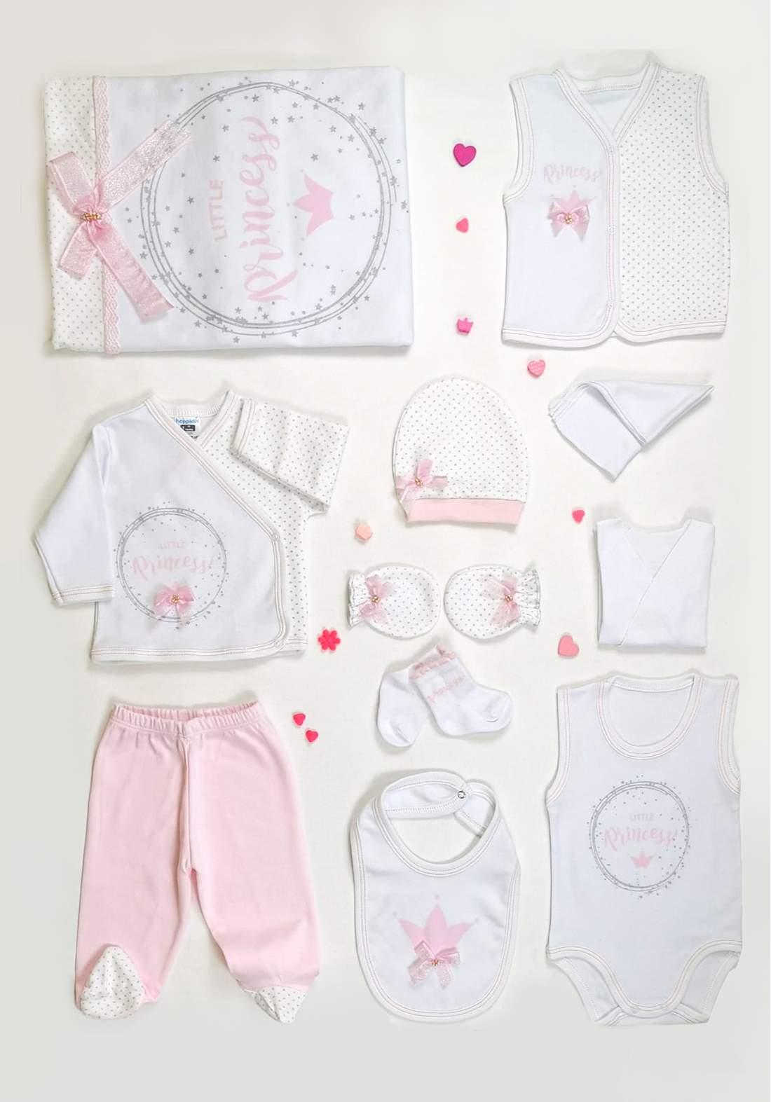 سيت بناتي للاطفال حديثي الولادة وردي وابيض للون