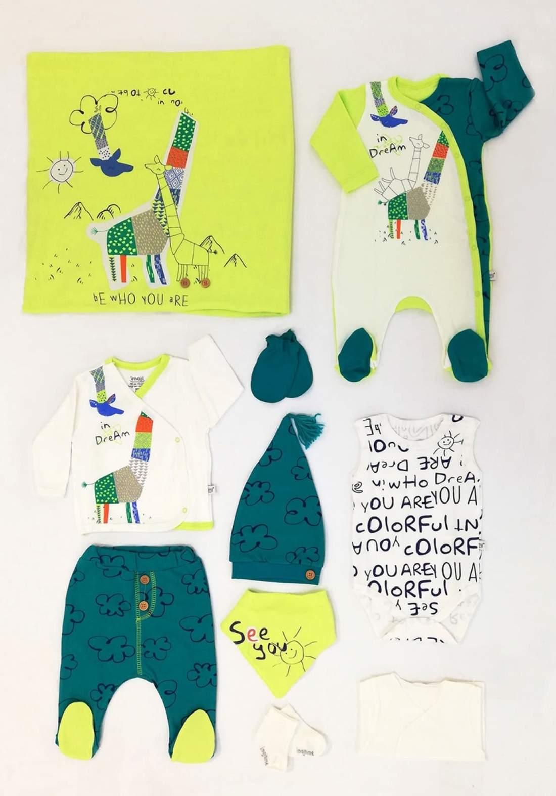سيت  للاطفال حديثي الولادة اخضر وزيتوني اللون