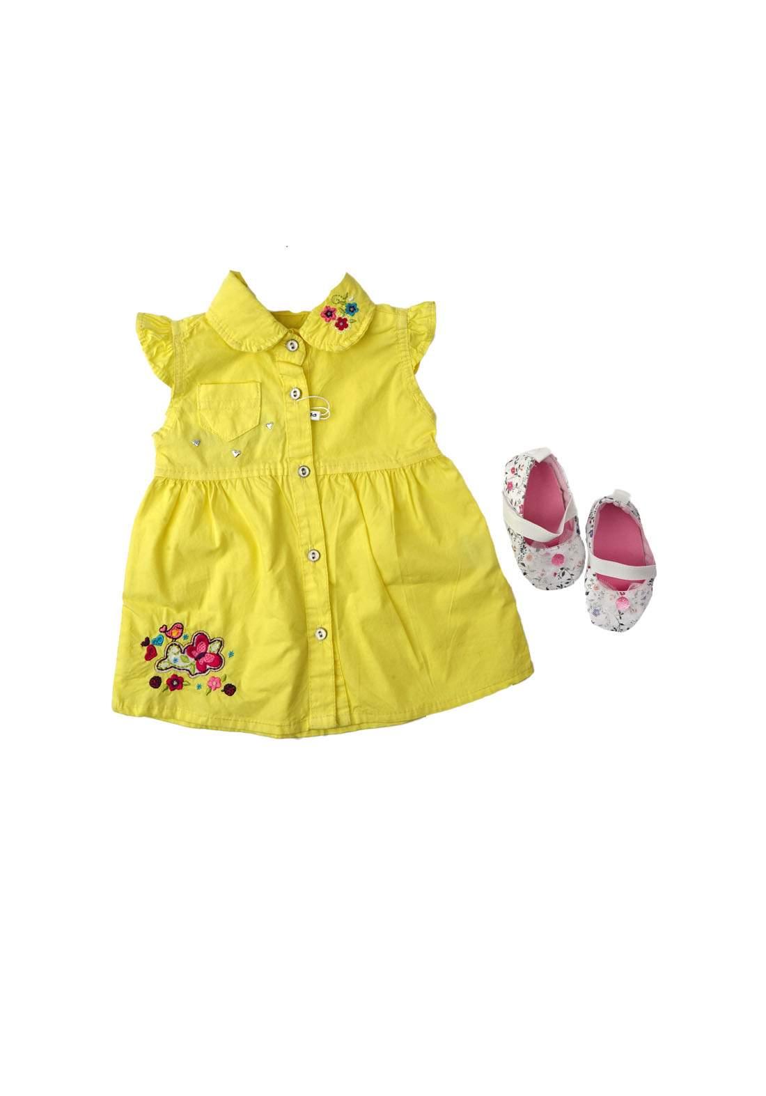فستان بناتي للاطفال اصفر اللون