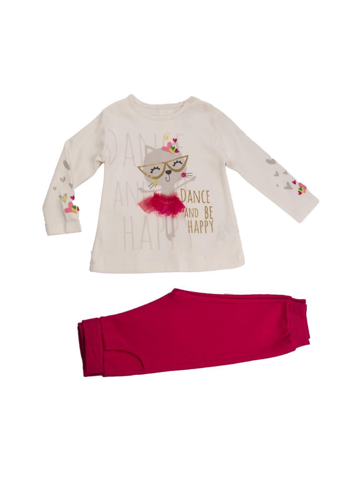 سيت بيجاما بناتي باللون الوردي والابيض