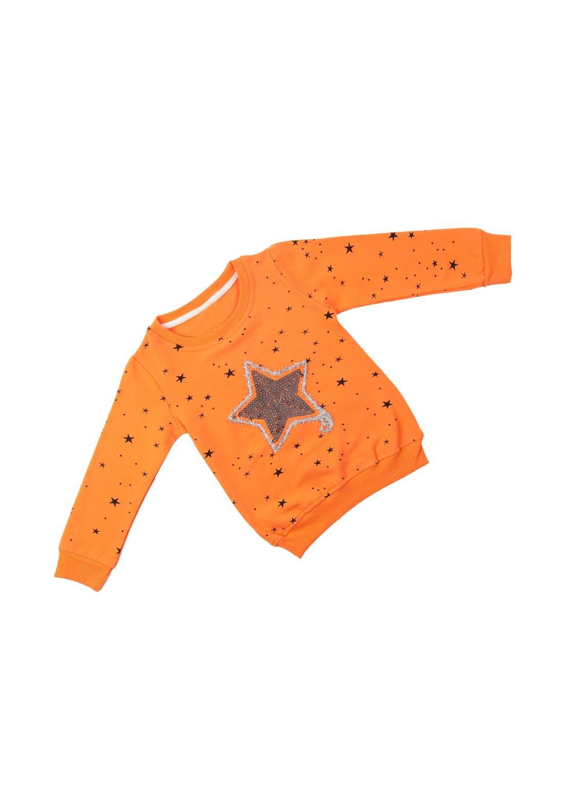 تيشيرت بناتي للاطفال برتقالي اللون