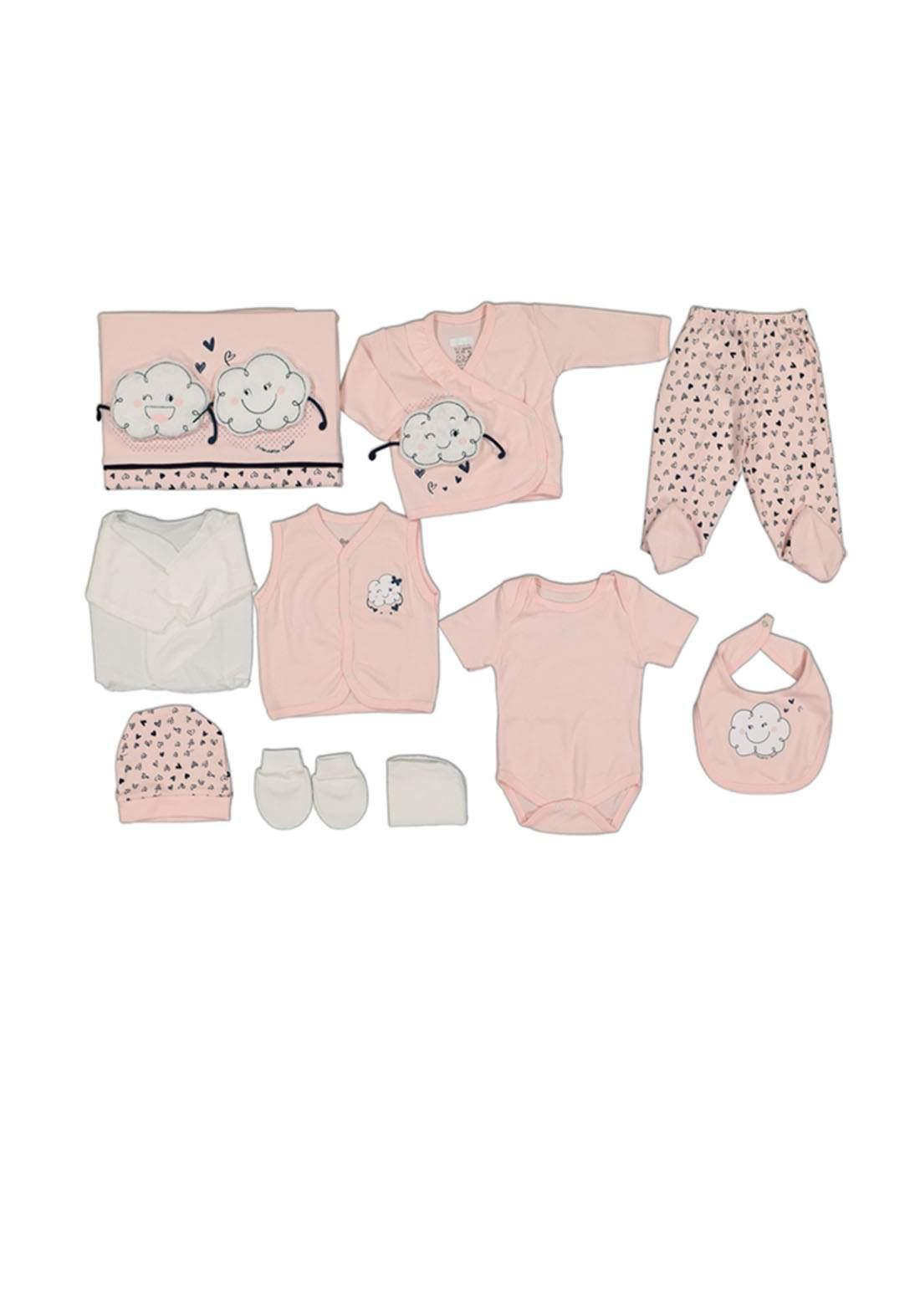 سيت للأطفال حديثي الولادة ابيض ووردي اللون