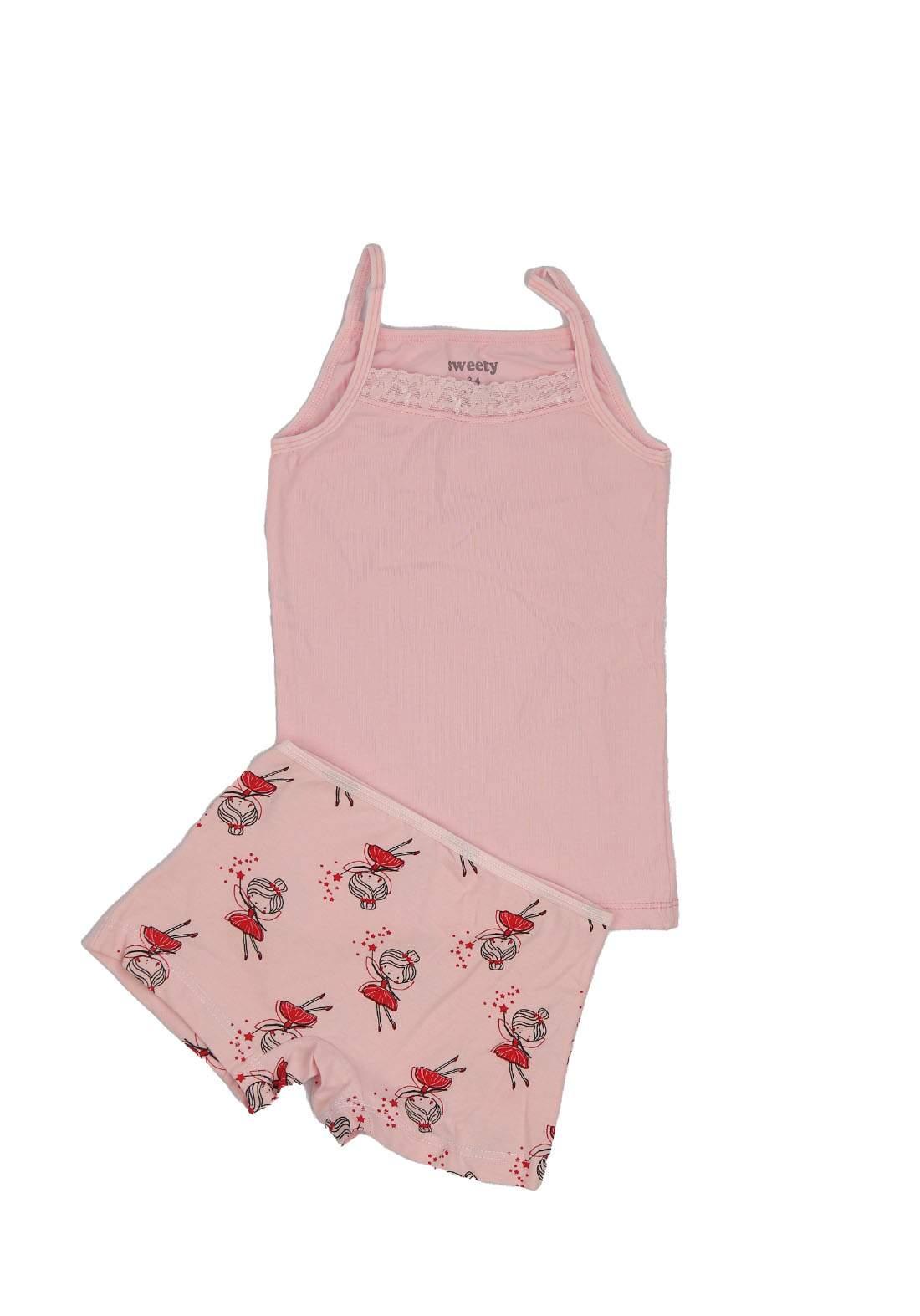 سيت شورت  بناتي للاطفال وردي اللون 0221