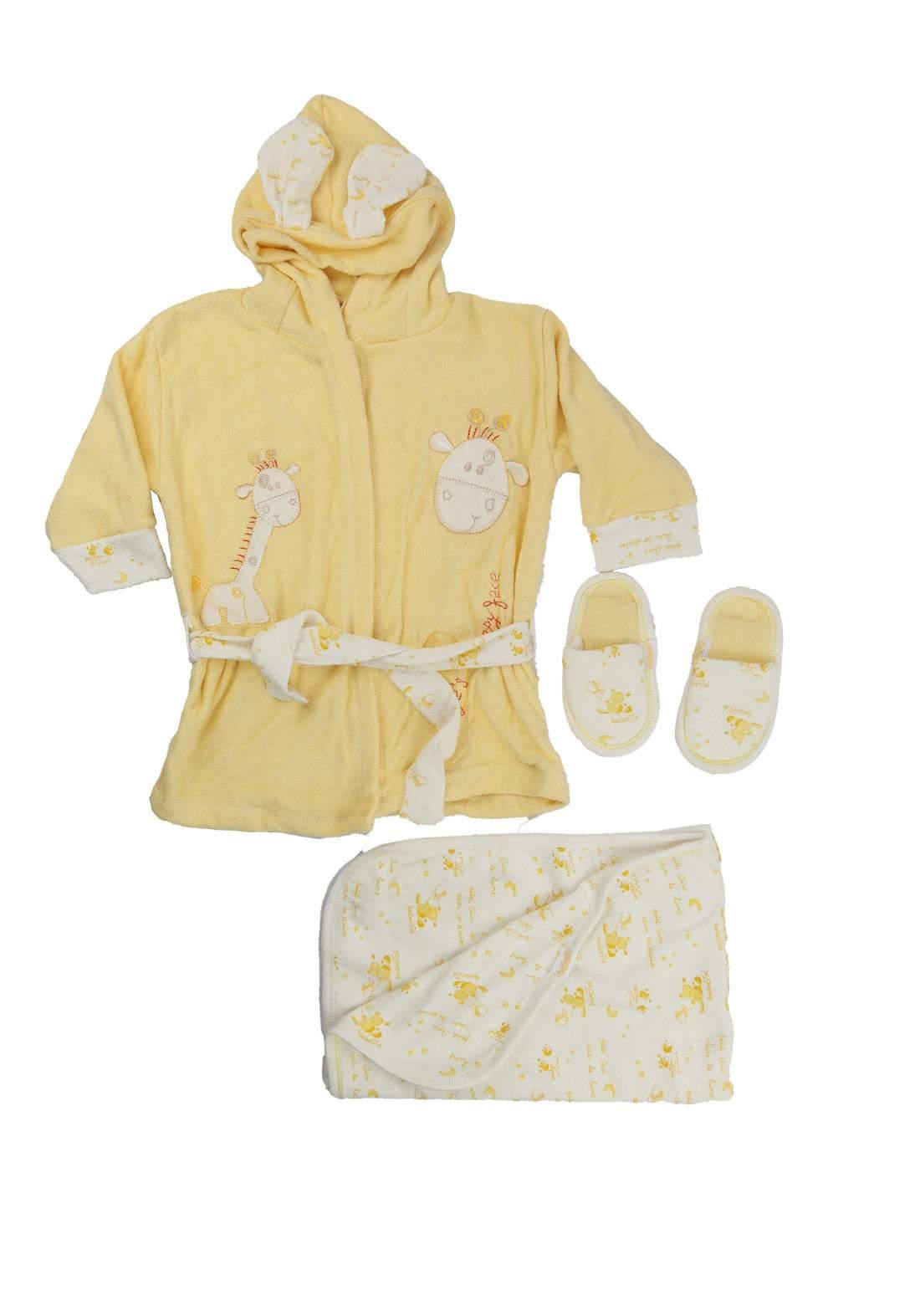 سيت روب استحمام للاطفال اصفر اللون   189