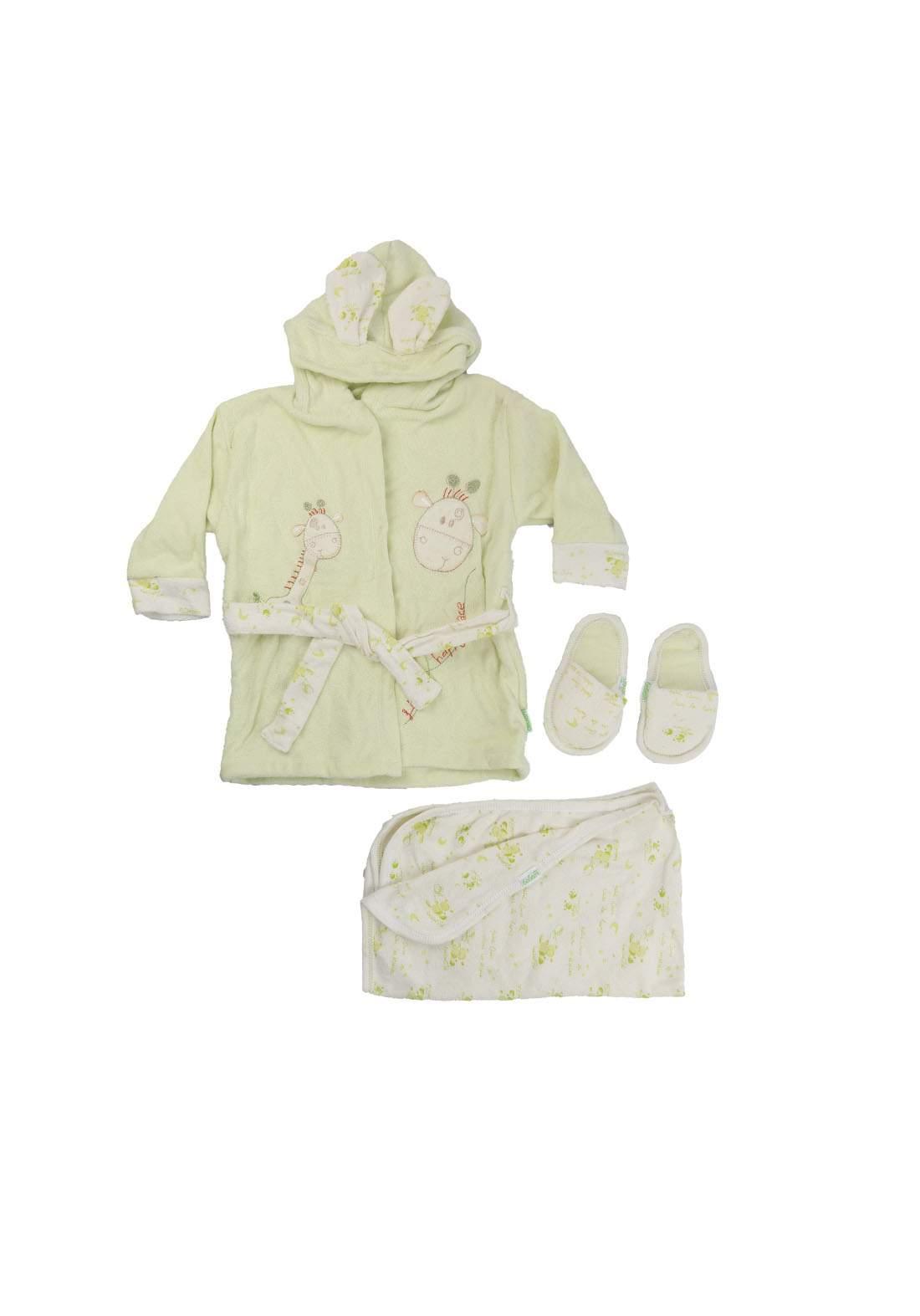 سيت روب استحمام للاطفال اخضر فاتح اللون  189