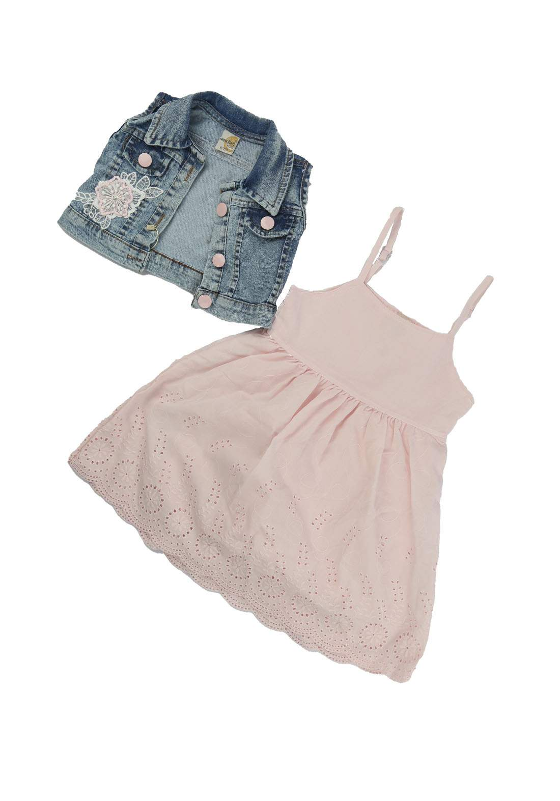فستان بناتي وردي وازرق اللون  2181