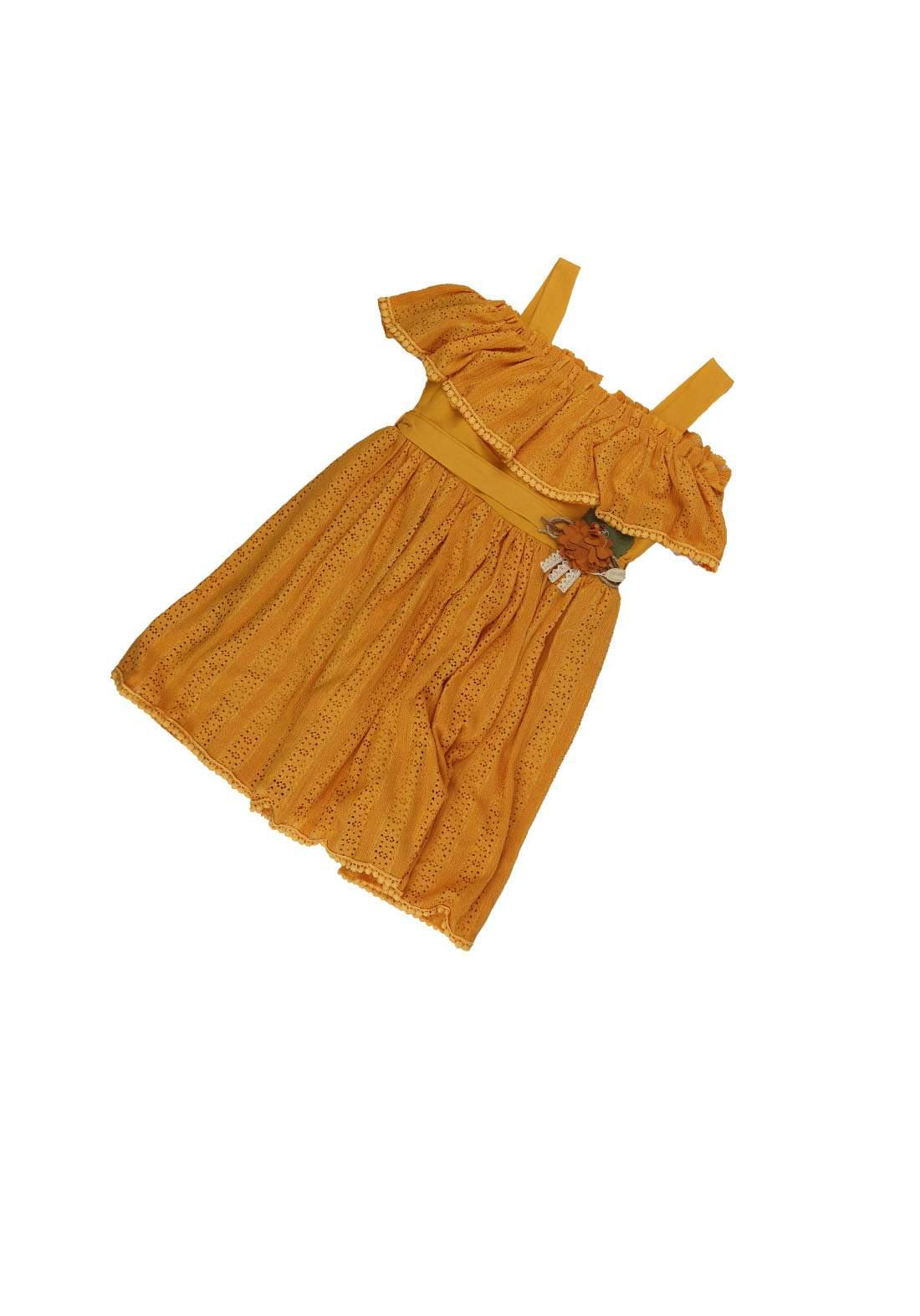 فستان بناتي خردلي اللون 350
