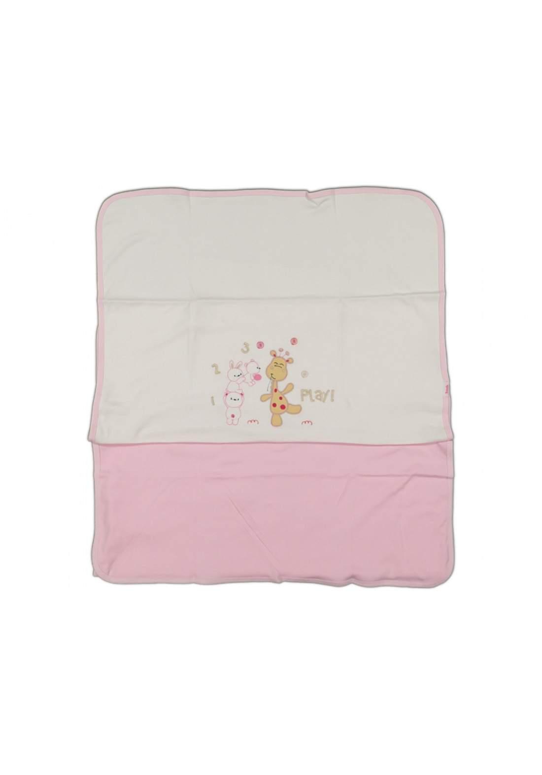 بطانية للاطفال حديثي  الولادة ابيض ووردي اللون