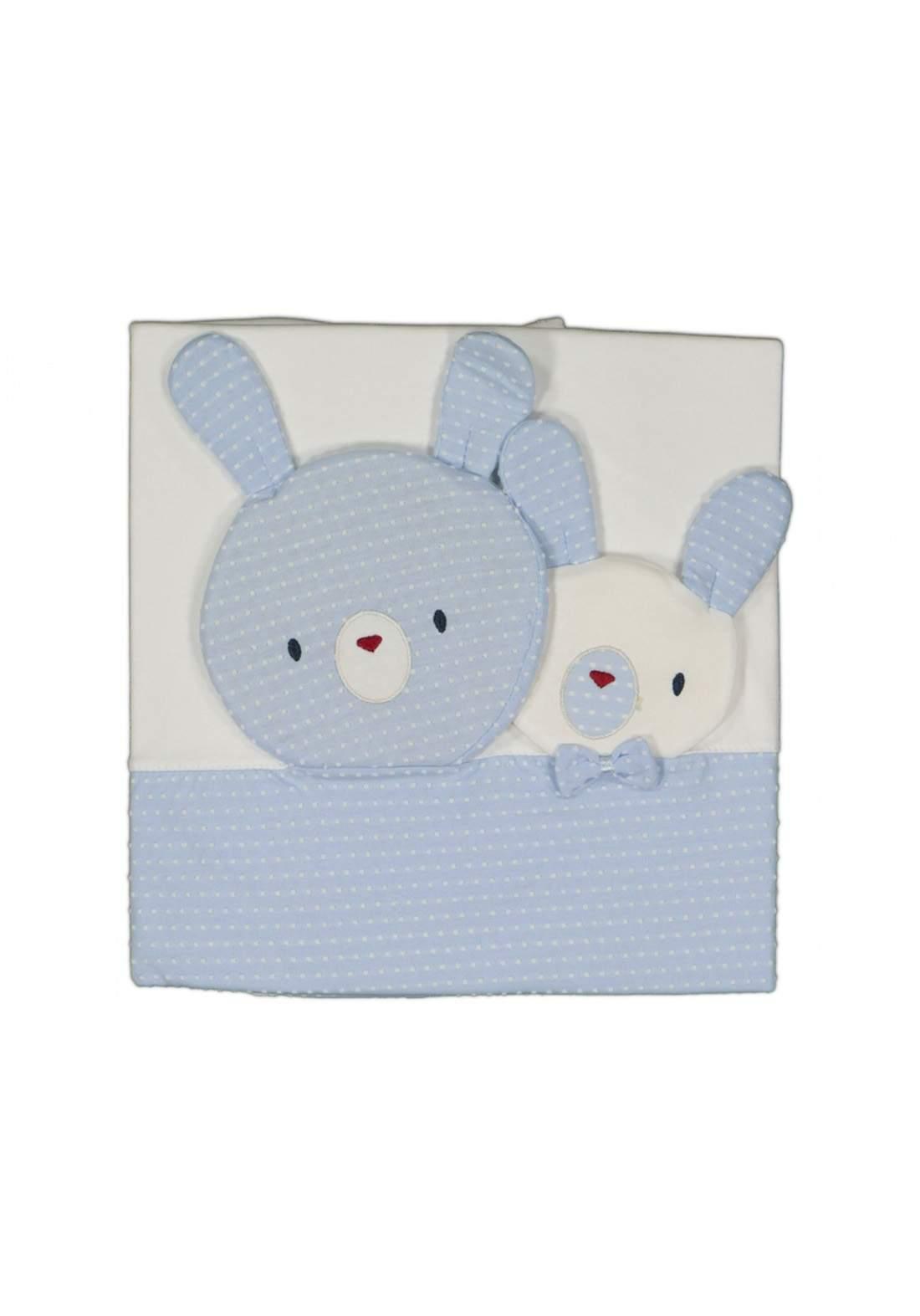 بطانية للاطفال حديثي  الولادة ابيض وسمائي اللون