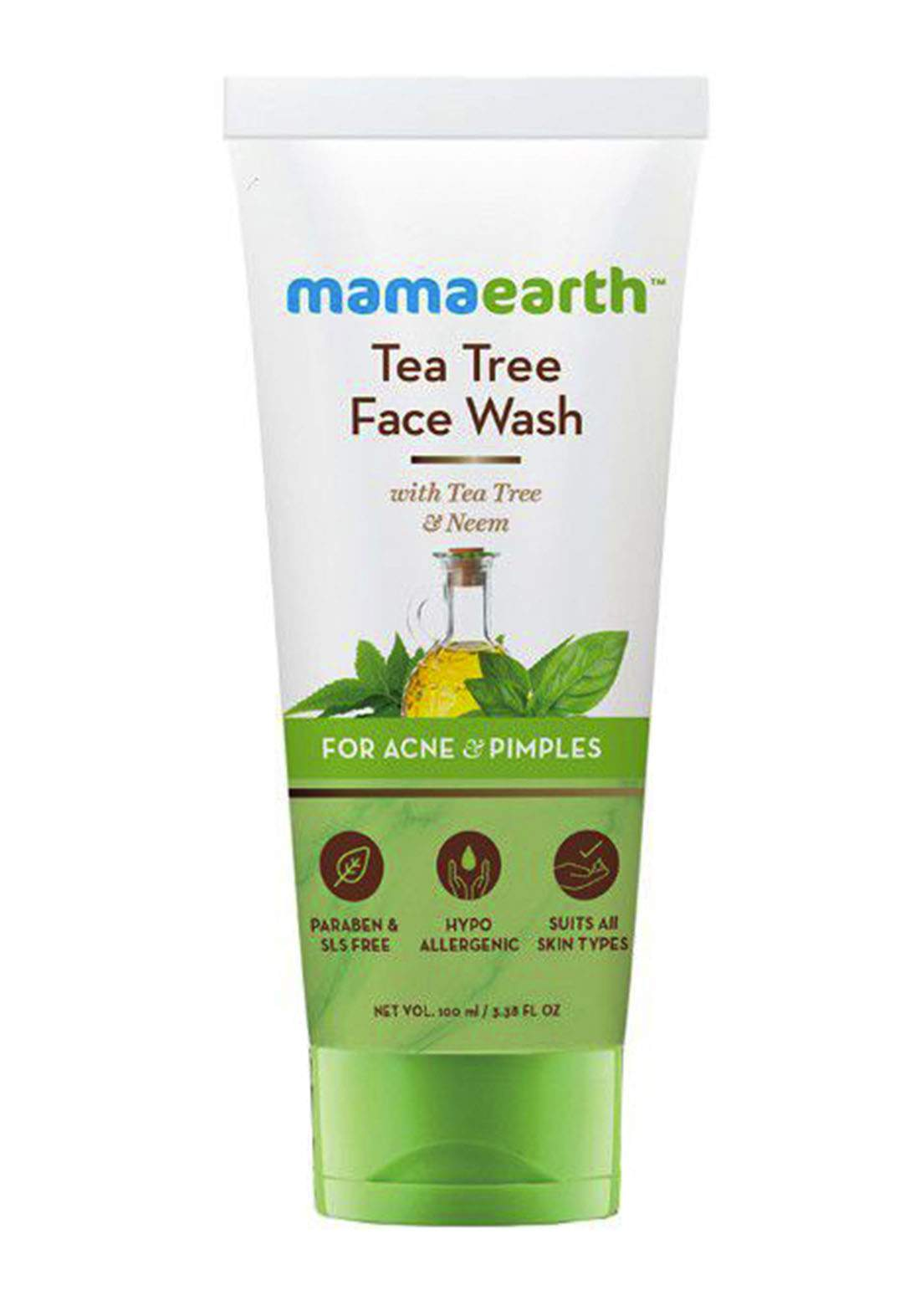 MamaEarth Tea Tree Natural for Acne & Pimples Wash Face Wash 100ml غسول للوجه
