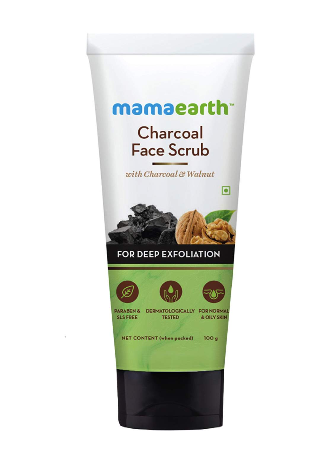 Mamaearth Charcoal Face Scrub For Oily Skin And Normal Skin 100g مقشر للوجه