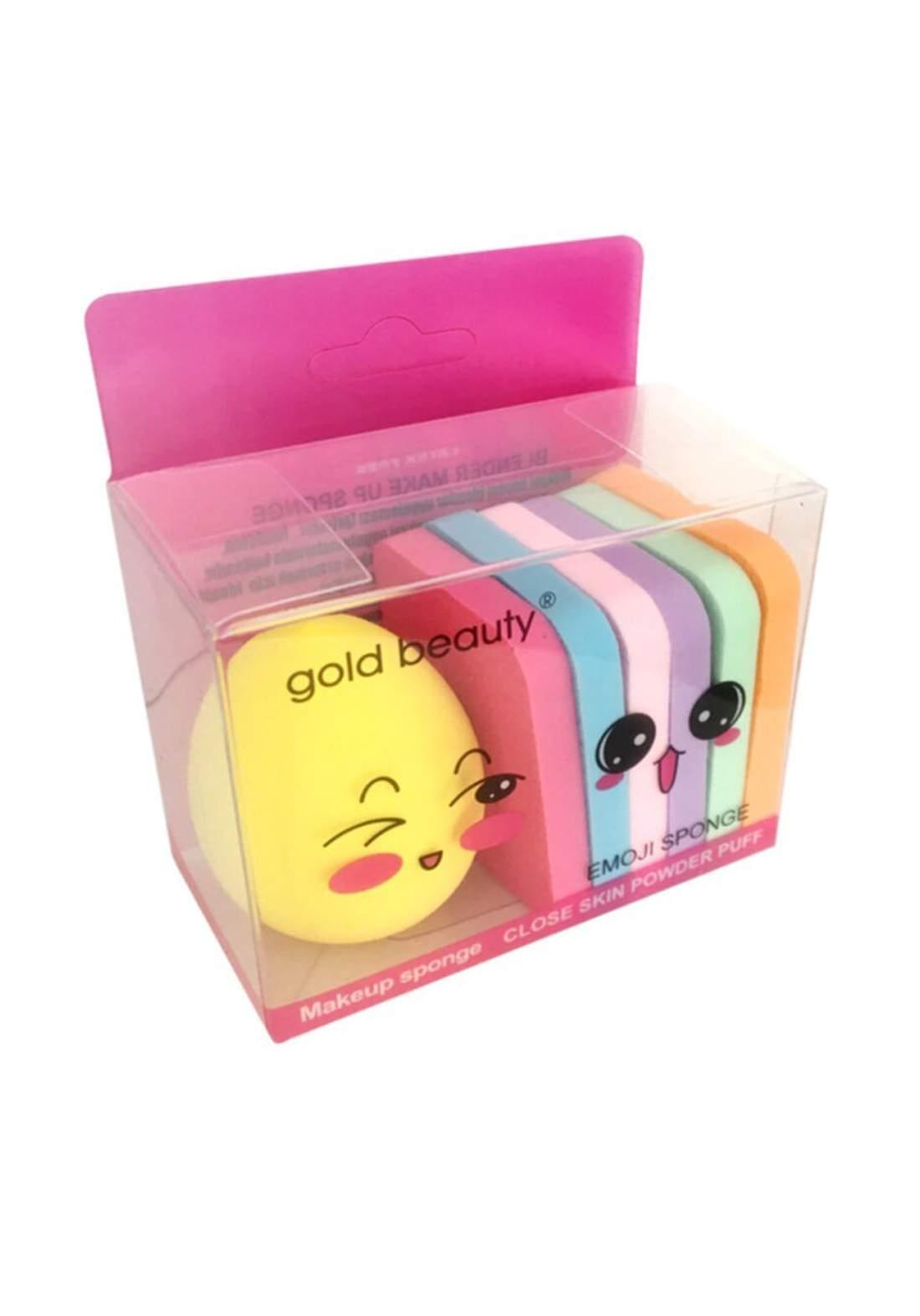 Gold Beauty Makeup Emoji Sponge 7Pcs بيوتي بلندر