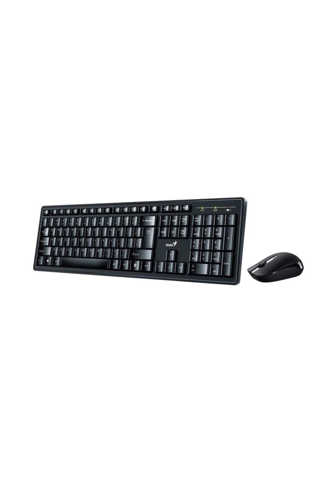 Genius Smart KM-8200 Wireless Keyboard and Mouse - Black كيبورد وماوس
