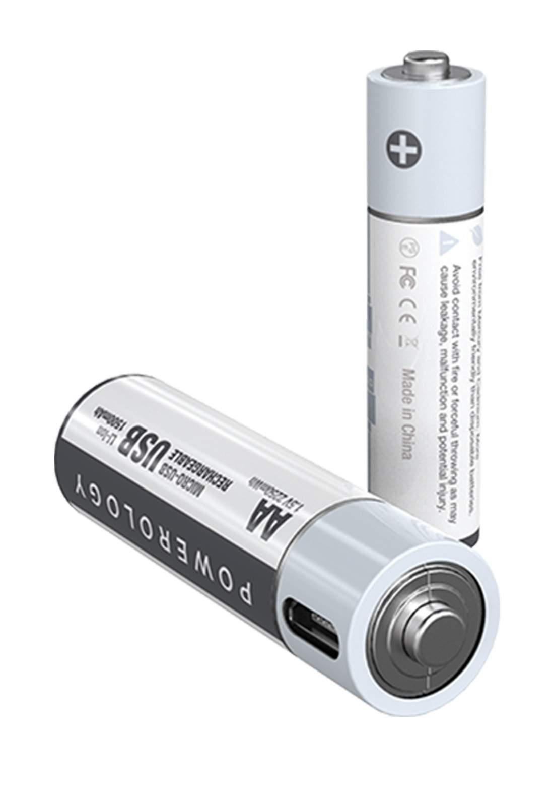 Powerology PRUBAA2 USB Rechargeable Battery-AA 2pcs بطاريات