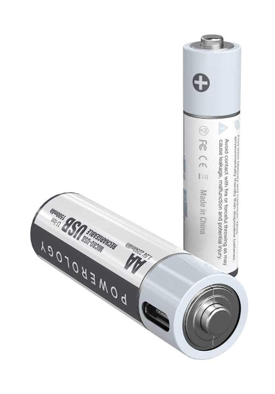 Powerology PRUBAAA2 USB Rechargeable Battery-AAA 2pcs بطاريات