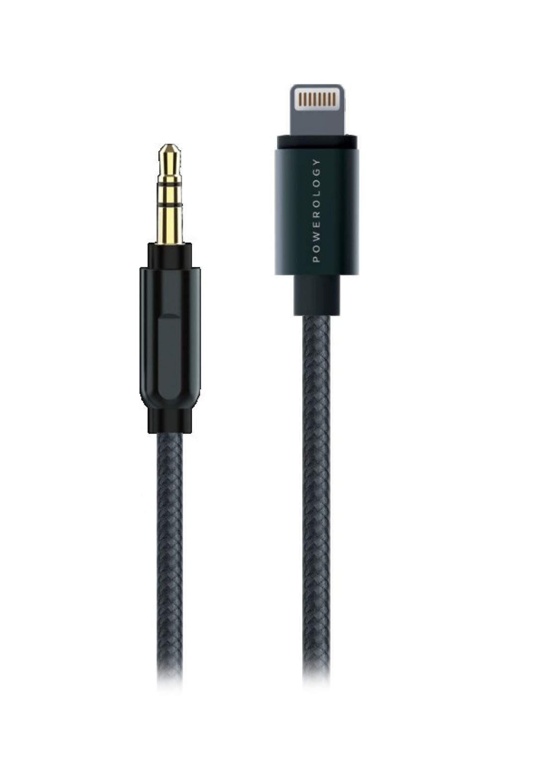 Powerology P12LAUGY Lightning to 3.5mm AUX Cable  - Black كابل