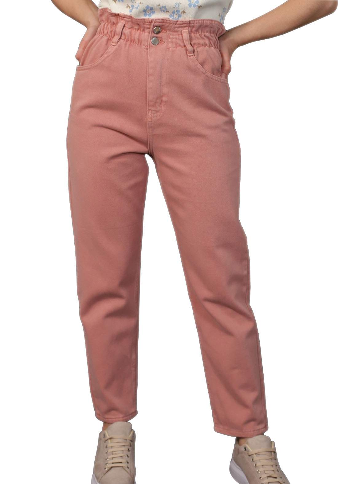 بنطلون جينز نسائي وردي اللون