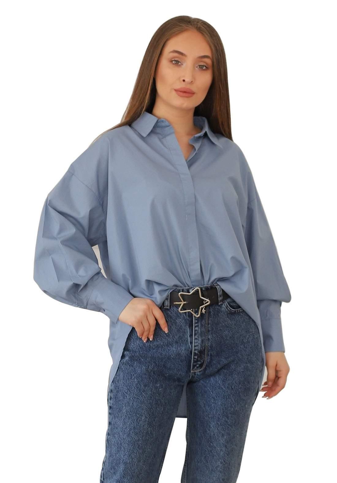 قميص نسائي ازرق اللون