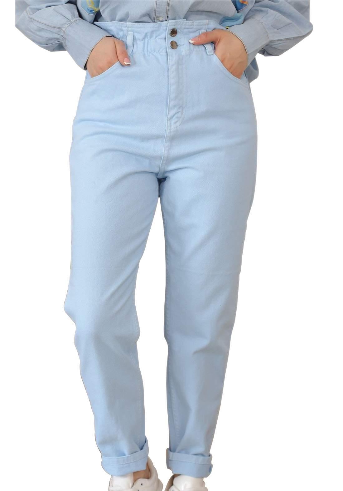 بنطلون جينز نسائي سمائي اللون