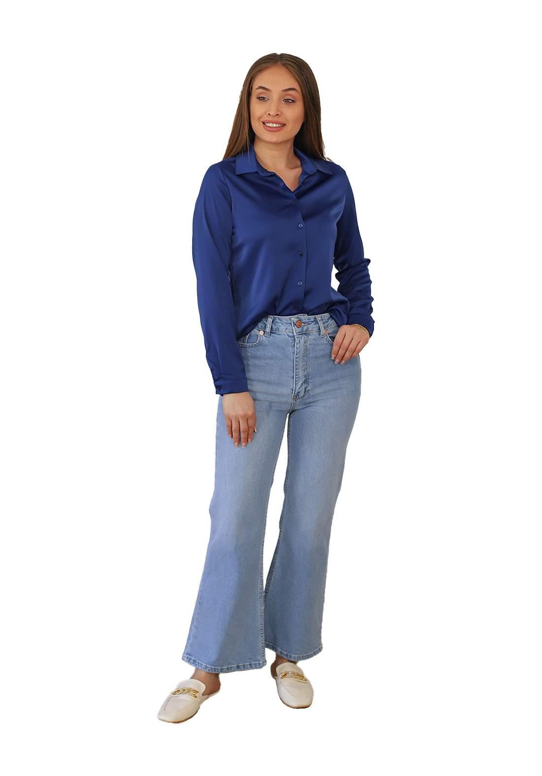 بنطلون نسائي جينز ازرق اللون