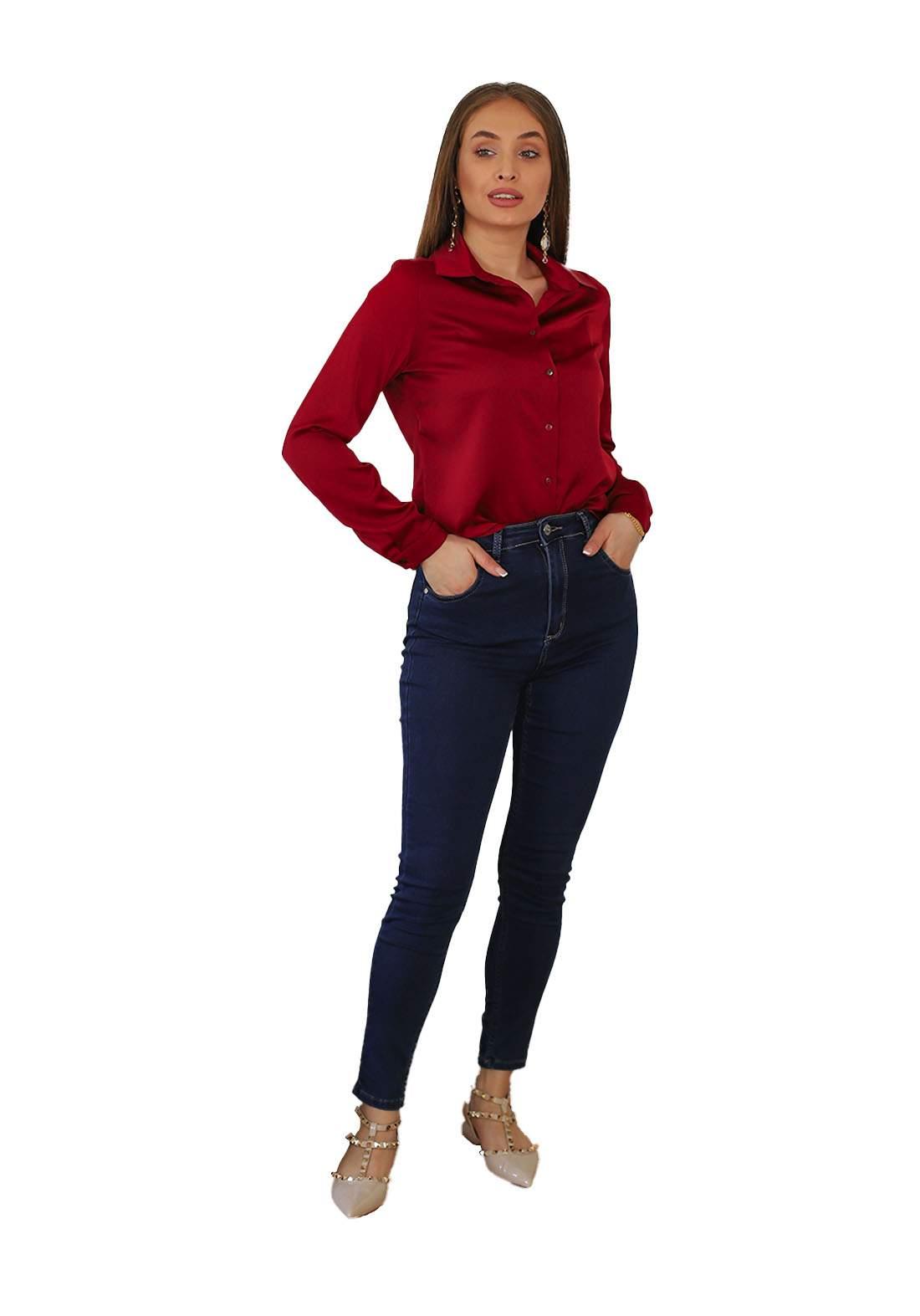 بنطلون نسائي جينز نيلي اللون