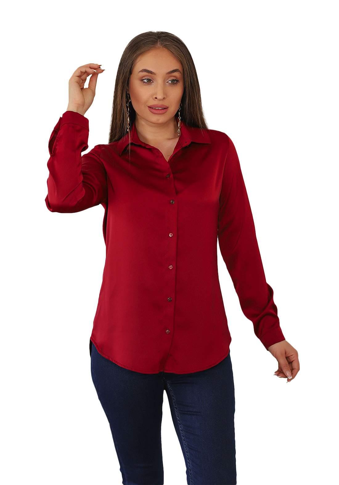 قميص نسائي ماروني اللون