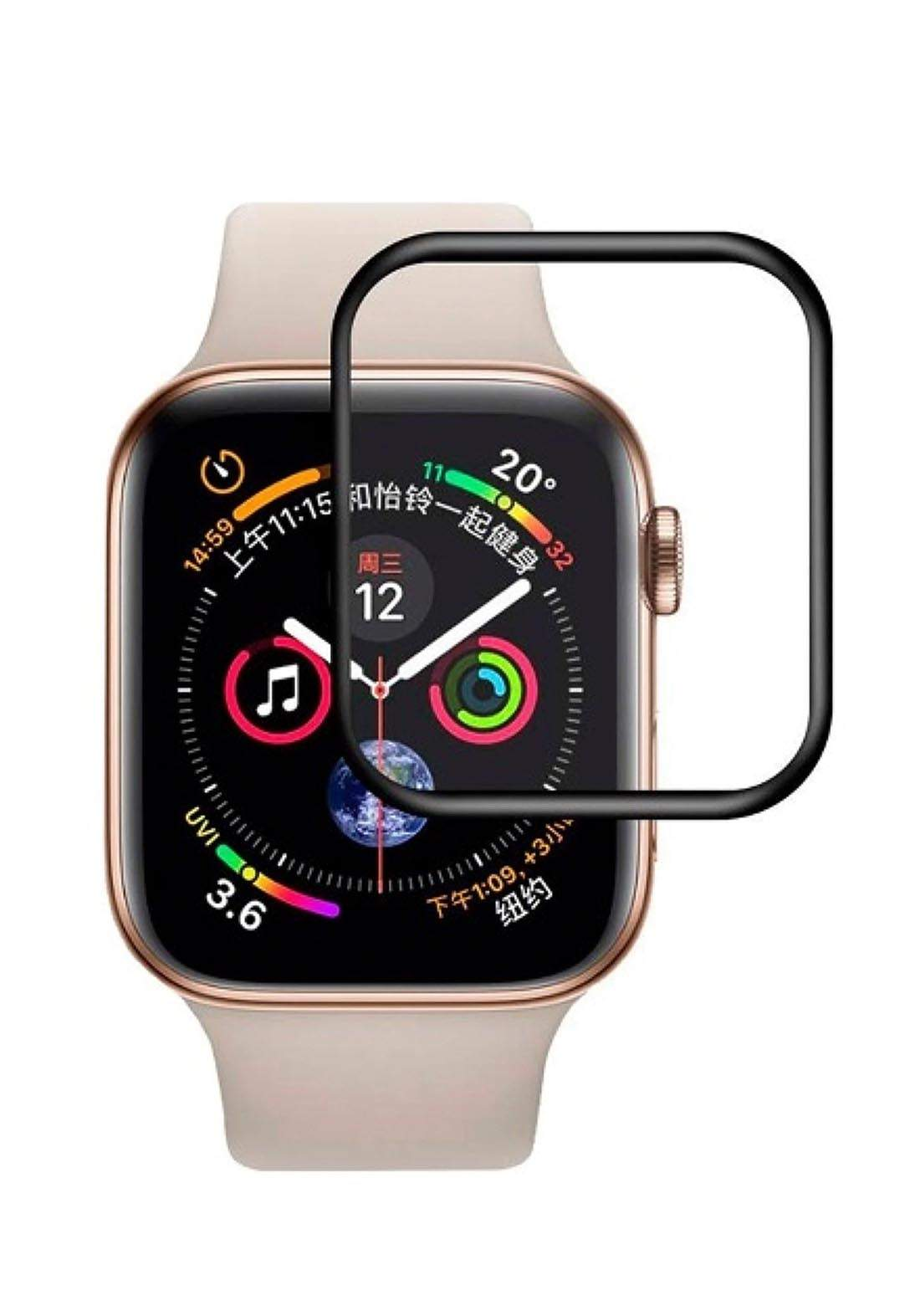 Blue Tempered Glass For Apple Watch 44mm - Black واقي شاشة ساعة