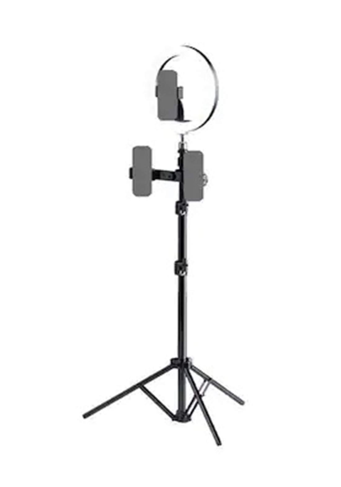 Rock Selfie Ring Light with Tripod Stand & Phone Holder Multi-camera ( RPH0948)- Black