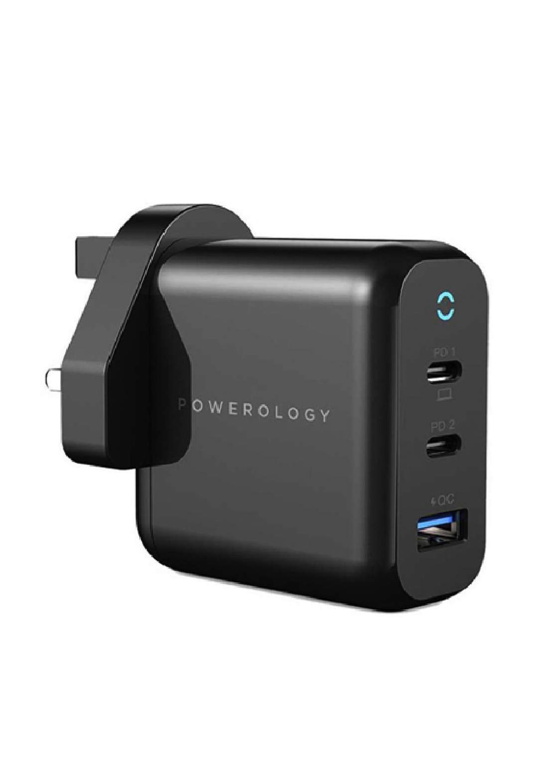 Powerology P65PDWUKBK 3-Port 65W Charger with PD - Black شاحن