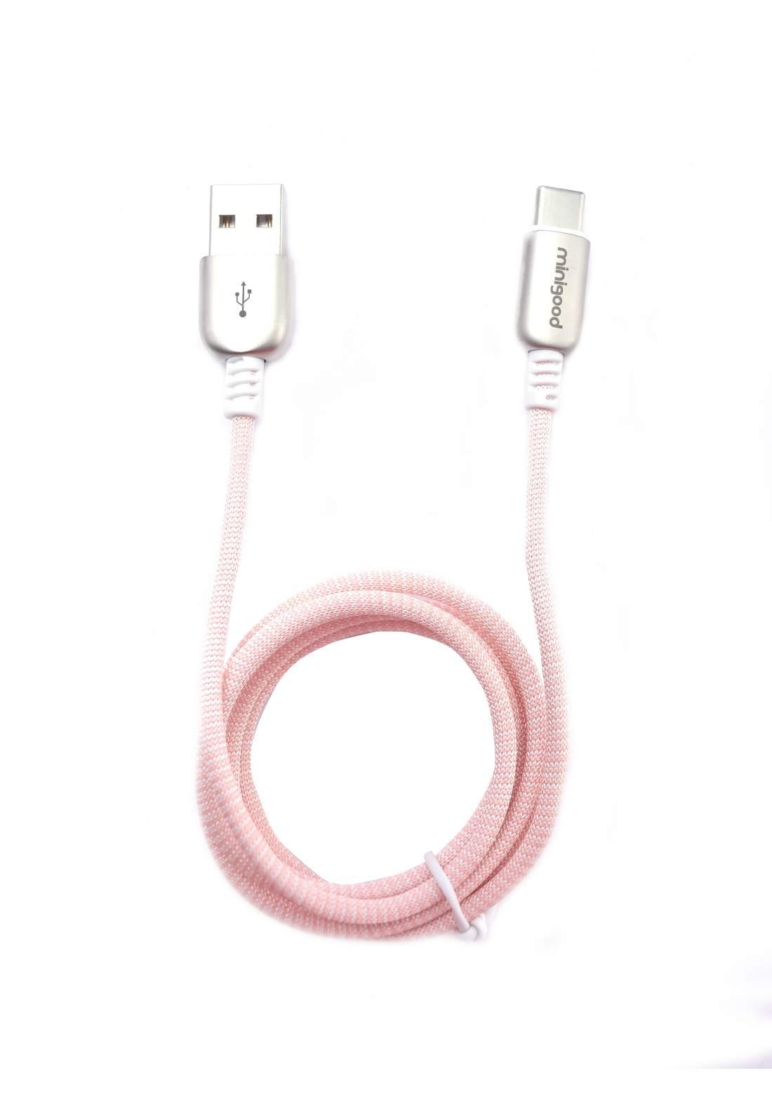 Minigood USB to Type C Data Cable 1m  - Pink كابل