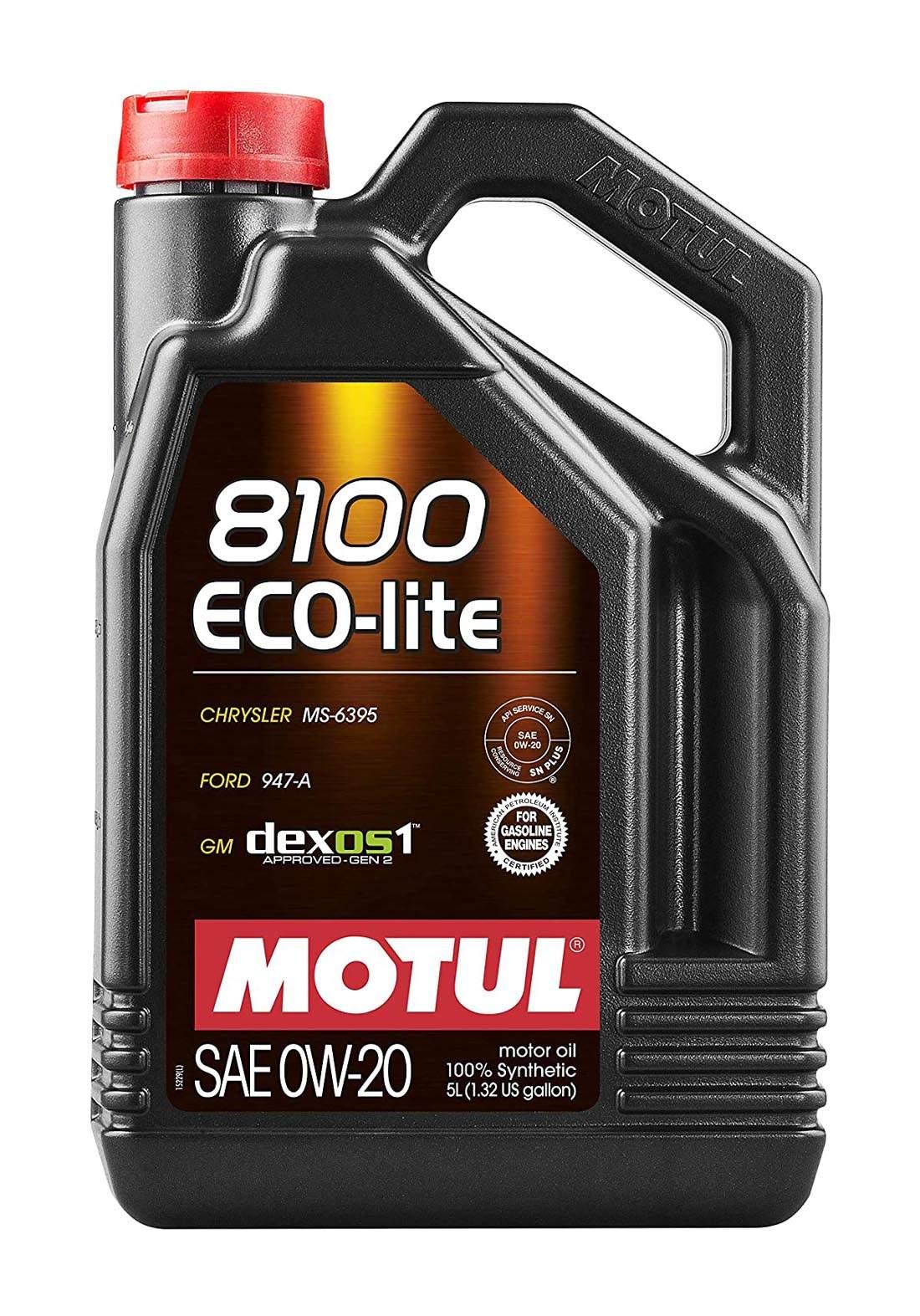 Motul 0w20 Eco-lite 8100 Synthetic Oil 5L  زيت تخليقي 100% للسيارات