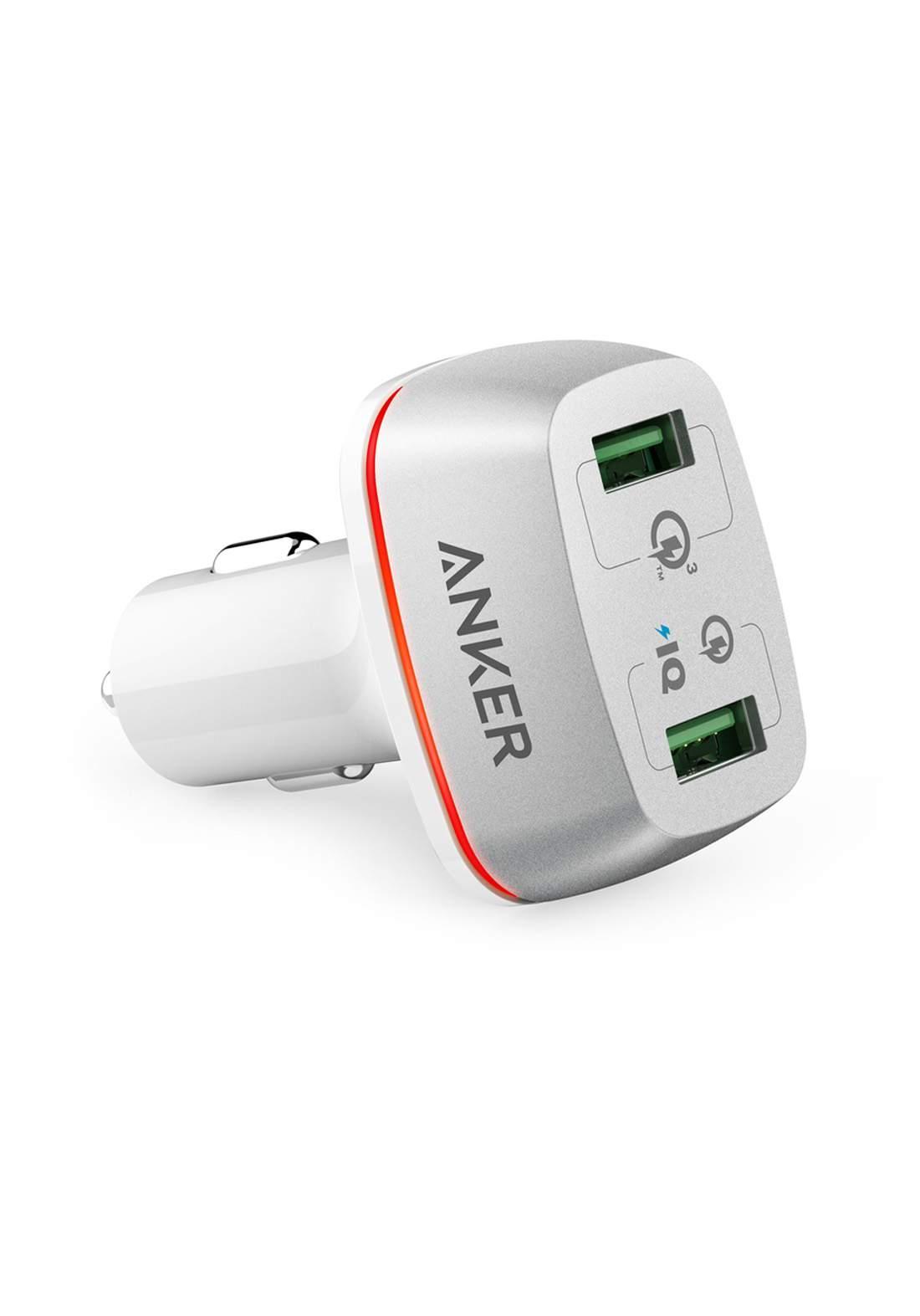 Anker A2224 PowerDrive 2 Ports Car Charger - White شاحن موبايل للسيارة