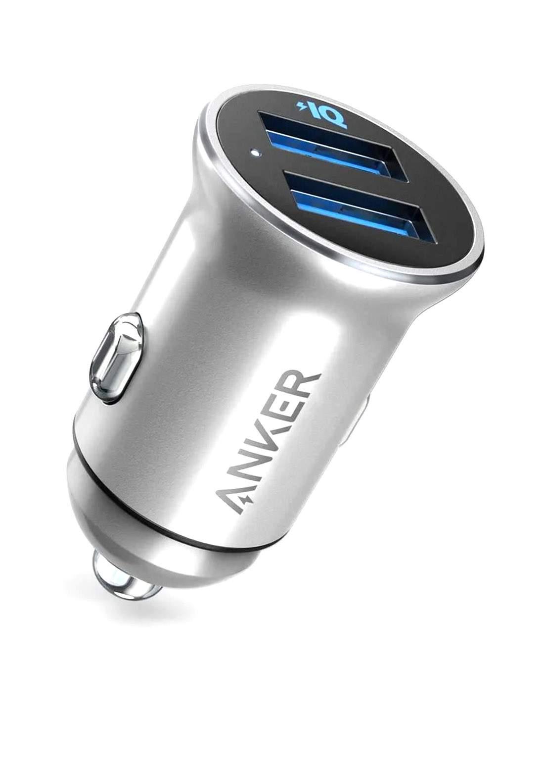 Anker A2727 Dual Port Power Drive 2 Alloy 24W Car Charger - Silver شاحن موبايل للسيارة