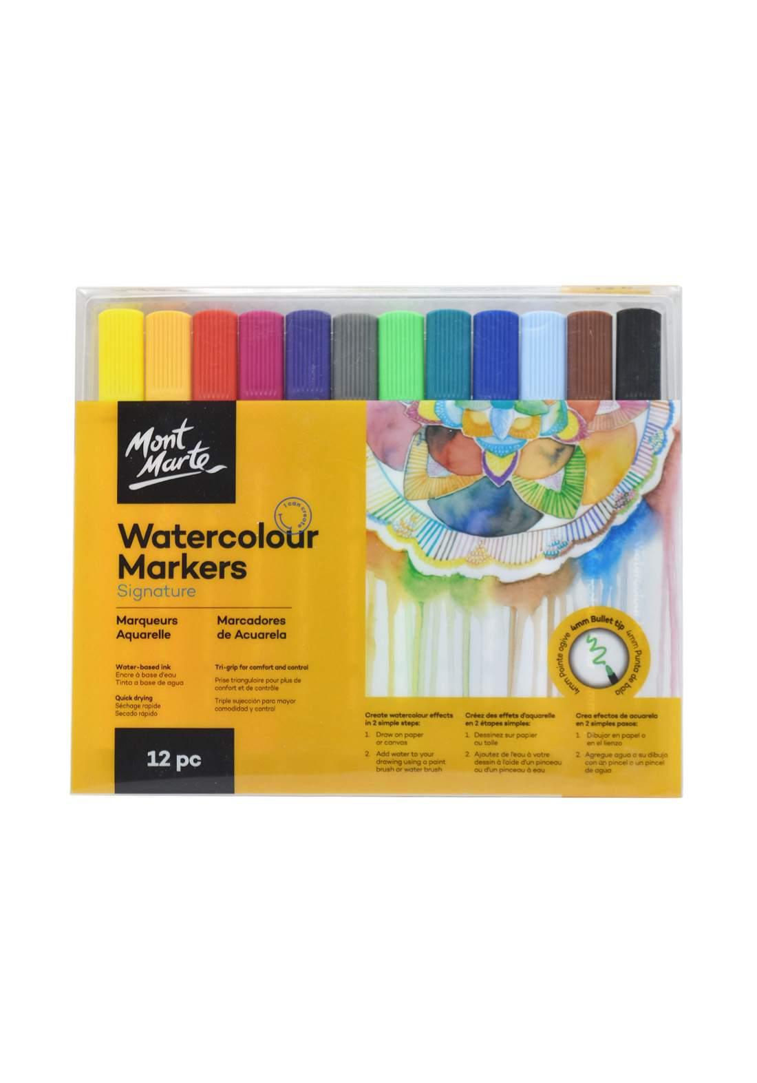 Mont Marte Signature Watercolour Markers 12Pcs 4mm  أقلام تلوين مائية