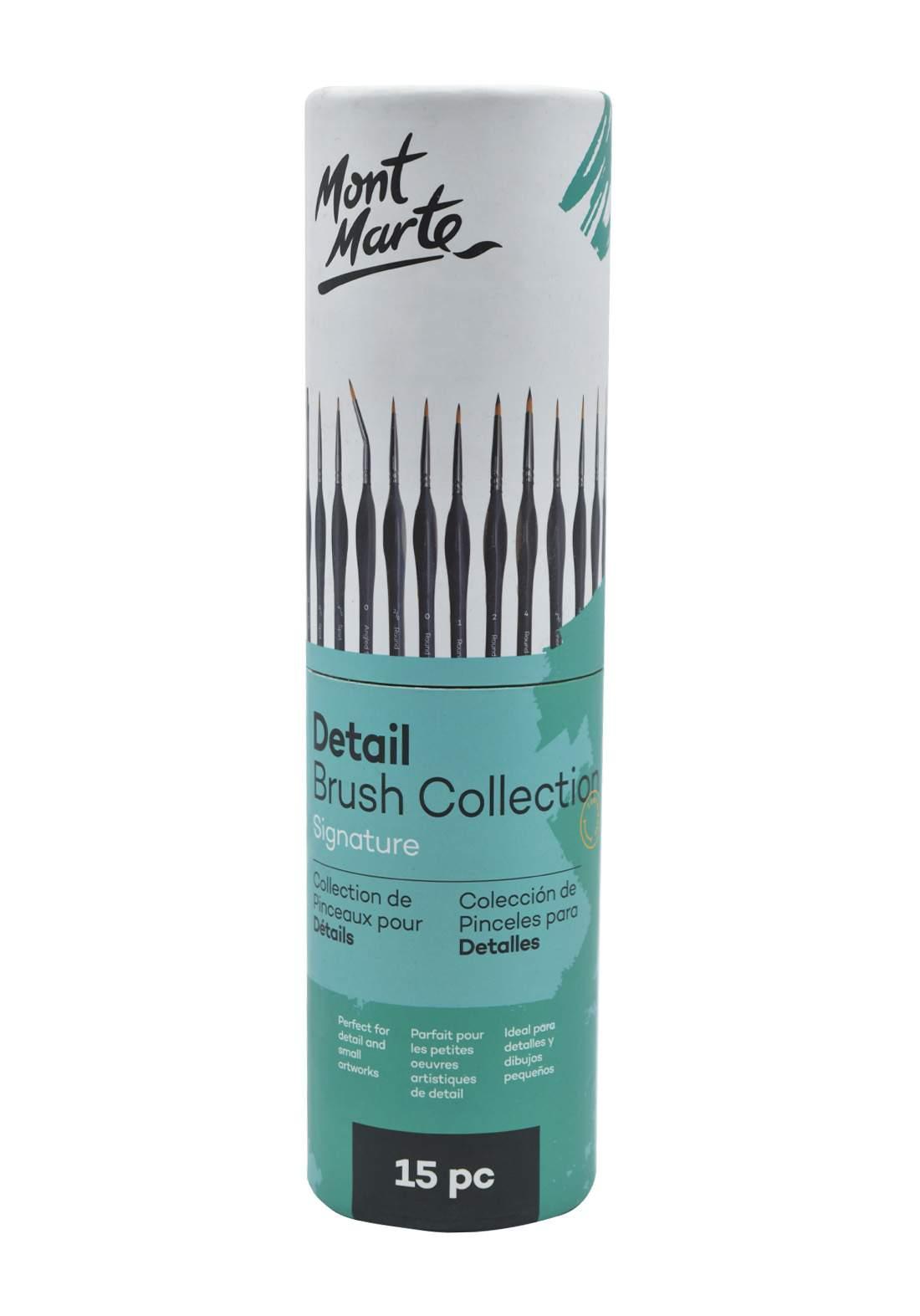 Mont Marte Signature Detail Brush Collection 15 Pcs  علبة فرش أكريليك