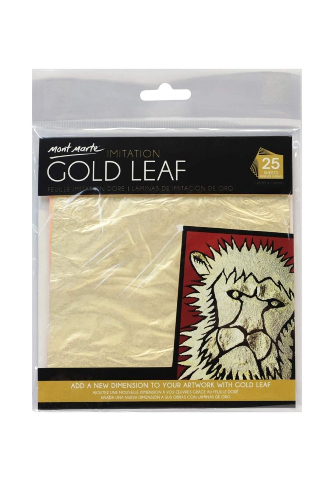 Mont Marte Gold Leaf 14x14cm 25 Sheet ورق تزيين معدني ذهبي