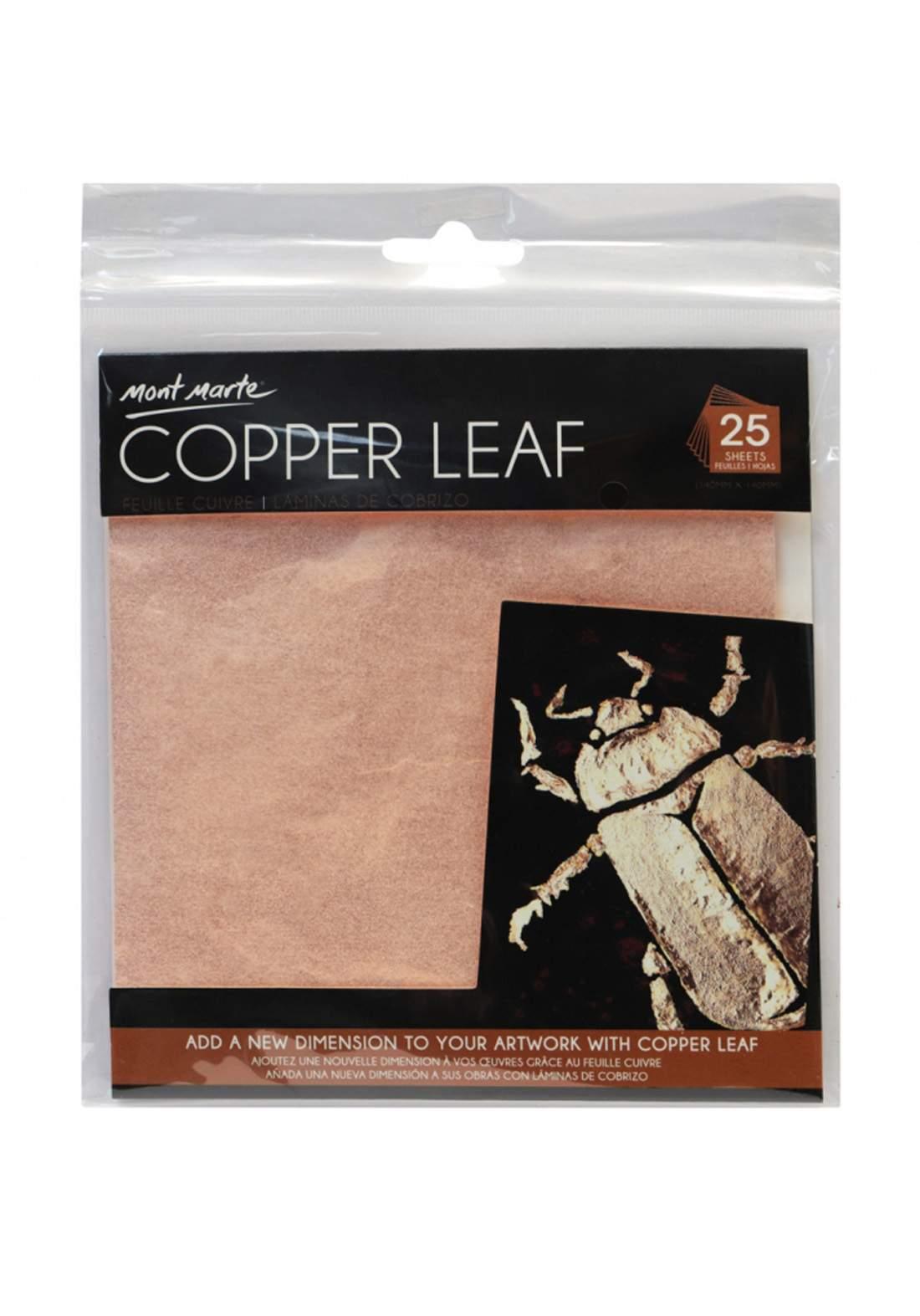 Mont Marte Copper Leaf 14x14cm 25 Sheet ورق تزيين معدني نحاسي
