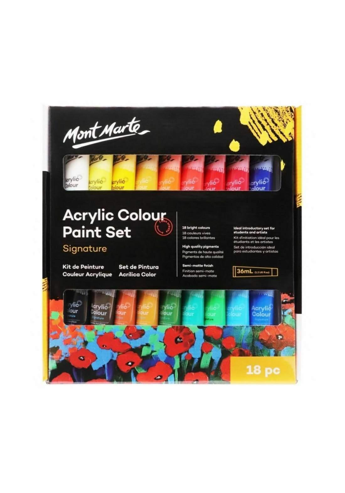 Mont Marte Acrylic Paint Set 18 Pcs x 36 ml  مجموعة الوان أكريليك