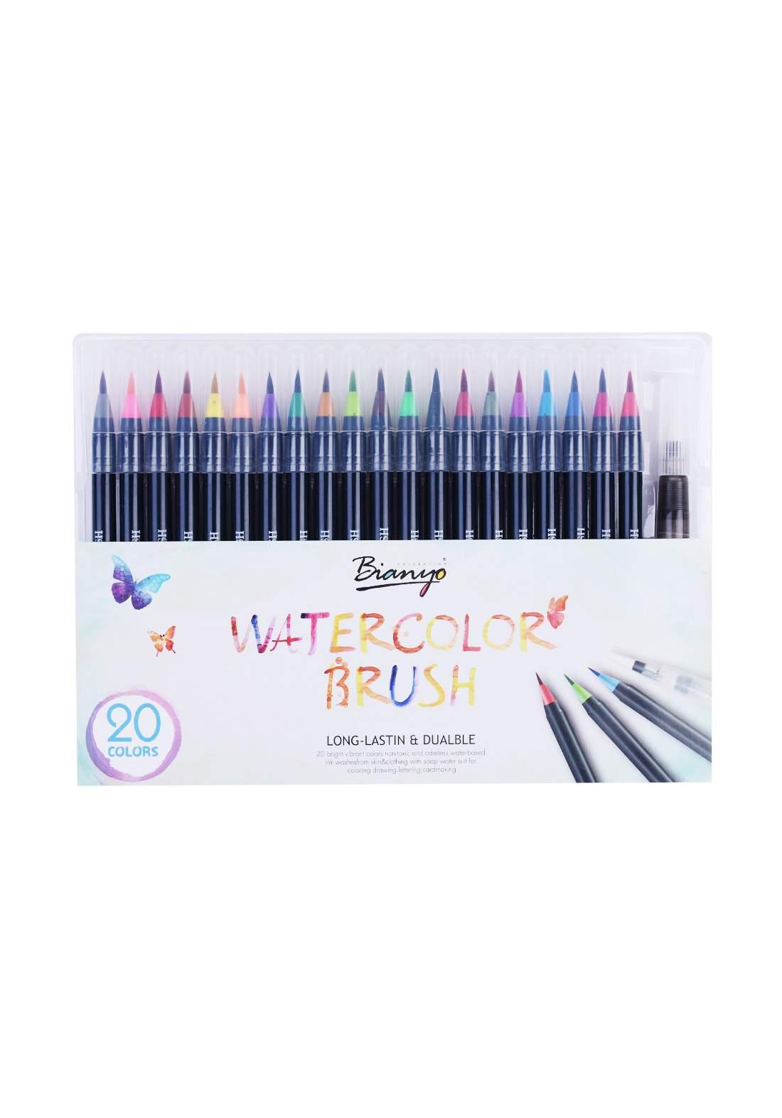 Watercolor Brush Pens Set 20 Pce اقلام تلوين حبرية مائية