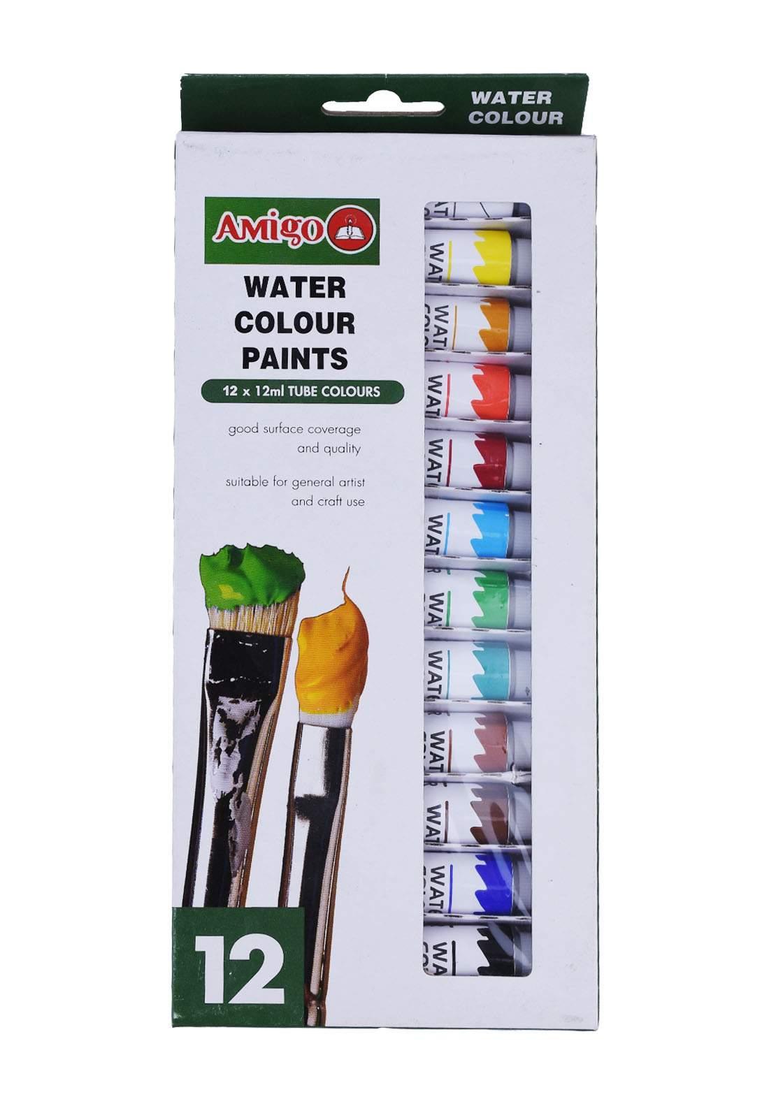 Amigo Watercolour Paint 12 color 12 ml علبة الوان مائية