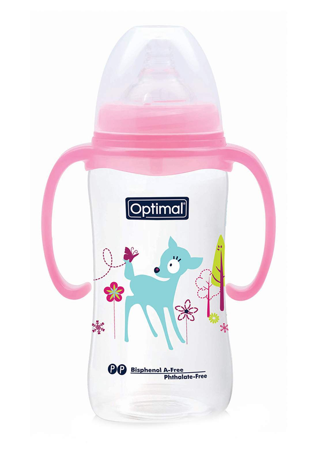 Optimal Wide Neck Feeding Bottle With Handle 300 ml رضاعة للاطفال