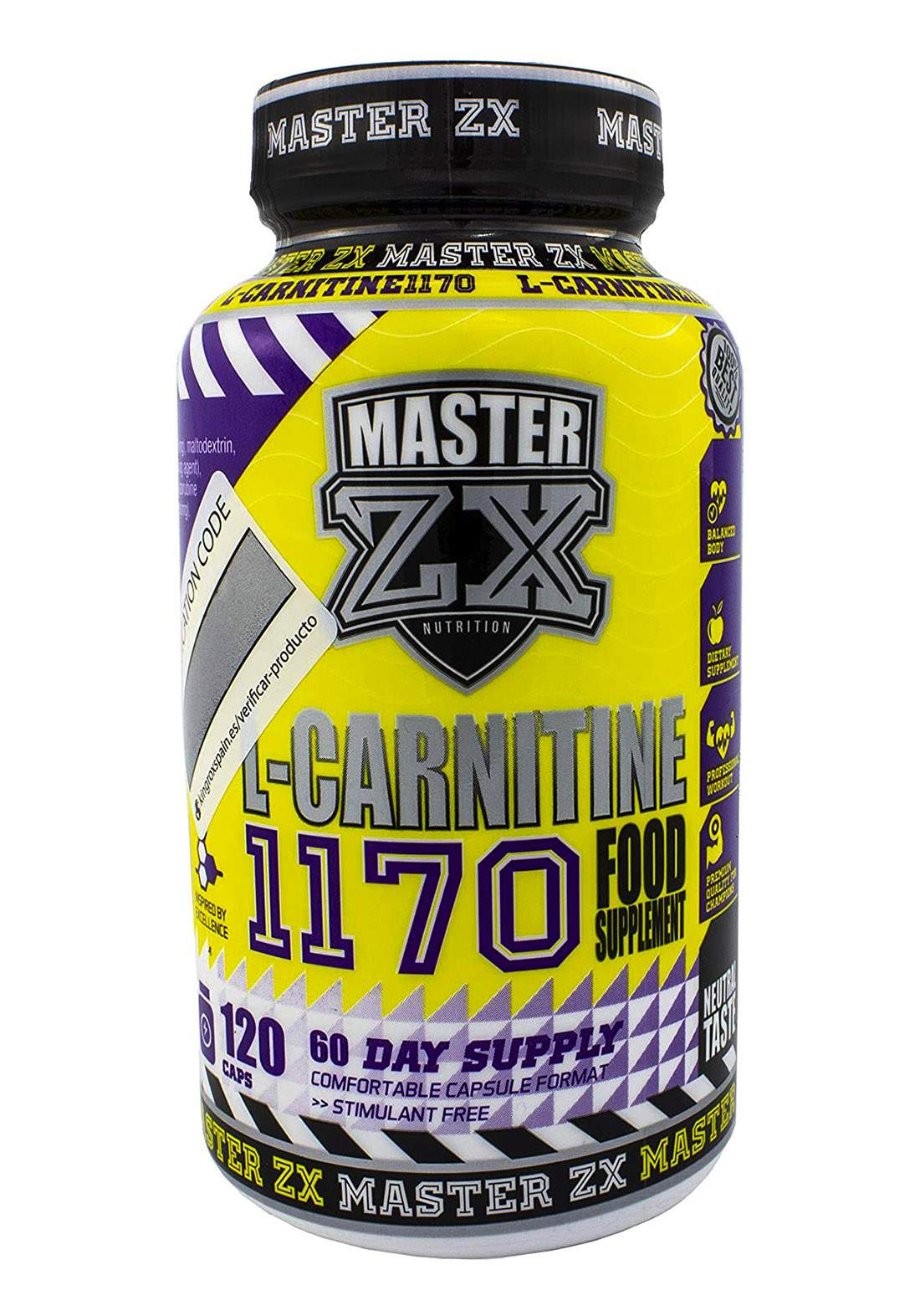 Master ZX L-CARNITINA - 120 Caps 100g - Por 1cap مكمل غذائي