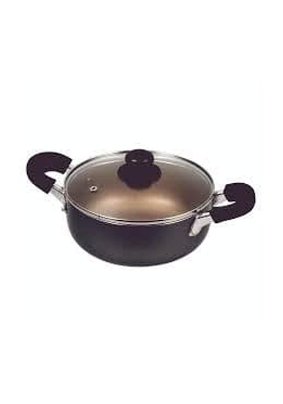 Pearl Metal HB-8013 Dinners Fluorine-processed two-handed pan with glass lid 20cm  قدر طعام