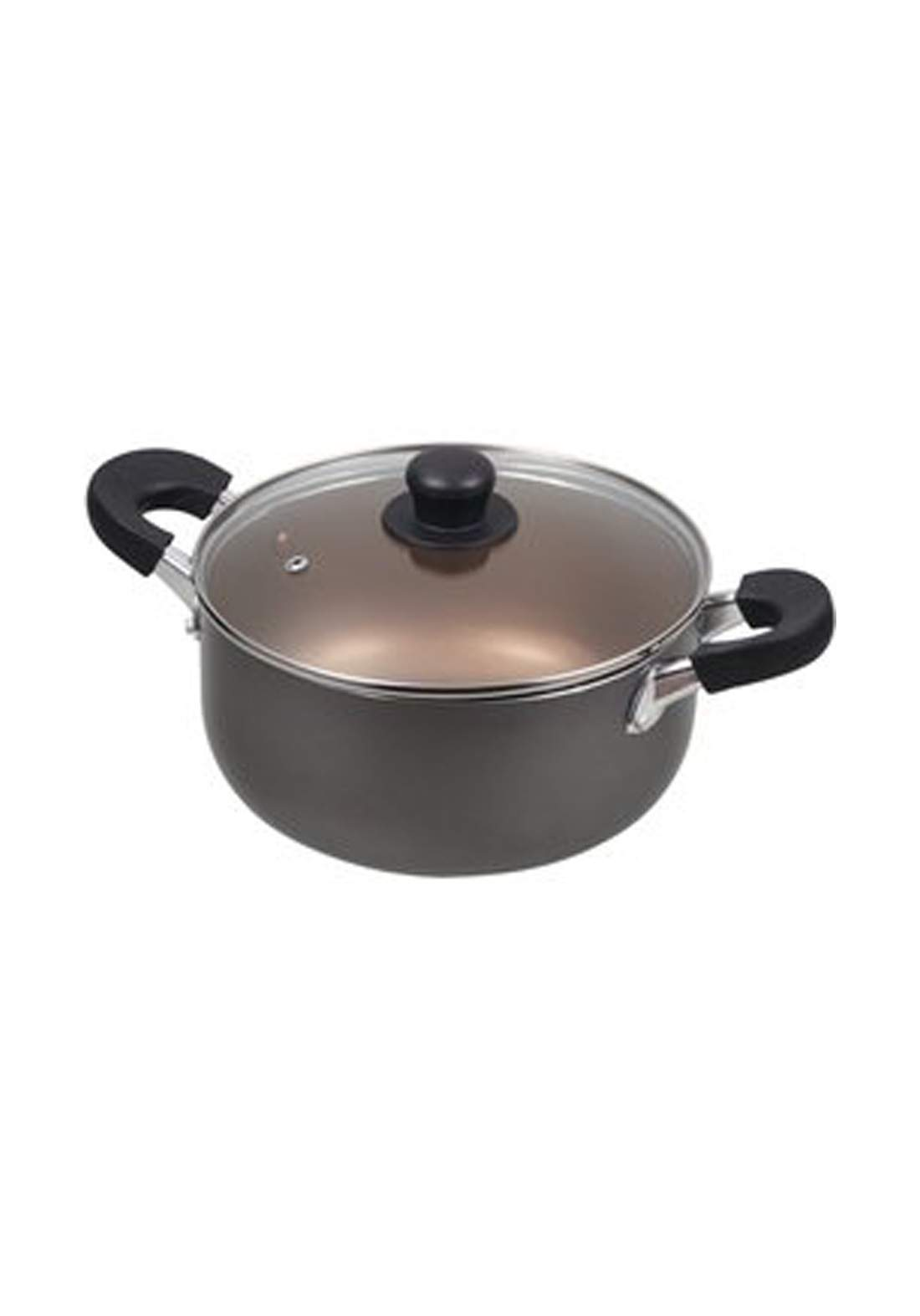 Pearl Metal HB-8014 Dinners Fluorine-processed two-handed pan with glass lid 22cm قدر طعام