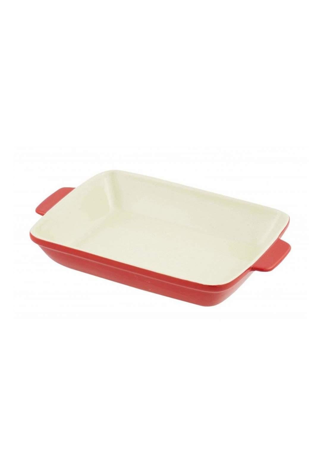 Pearl Metal  L-1825 Square Dish Heat-Resistant Redبايركس حراري