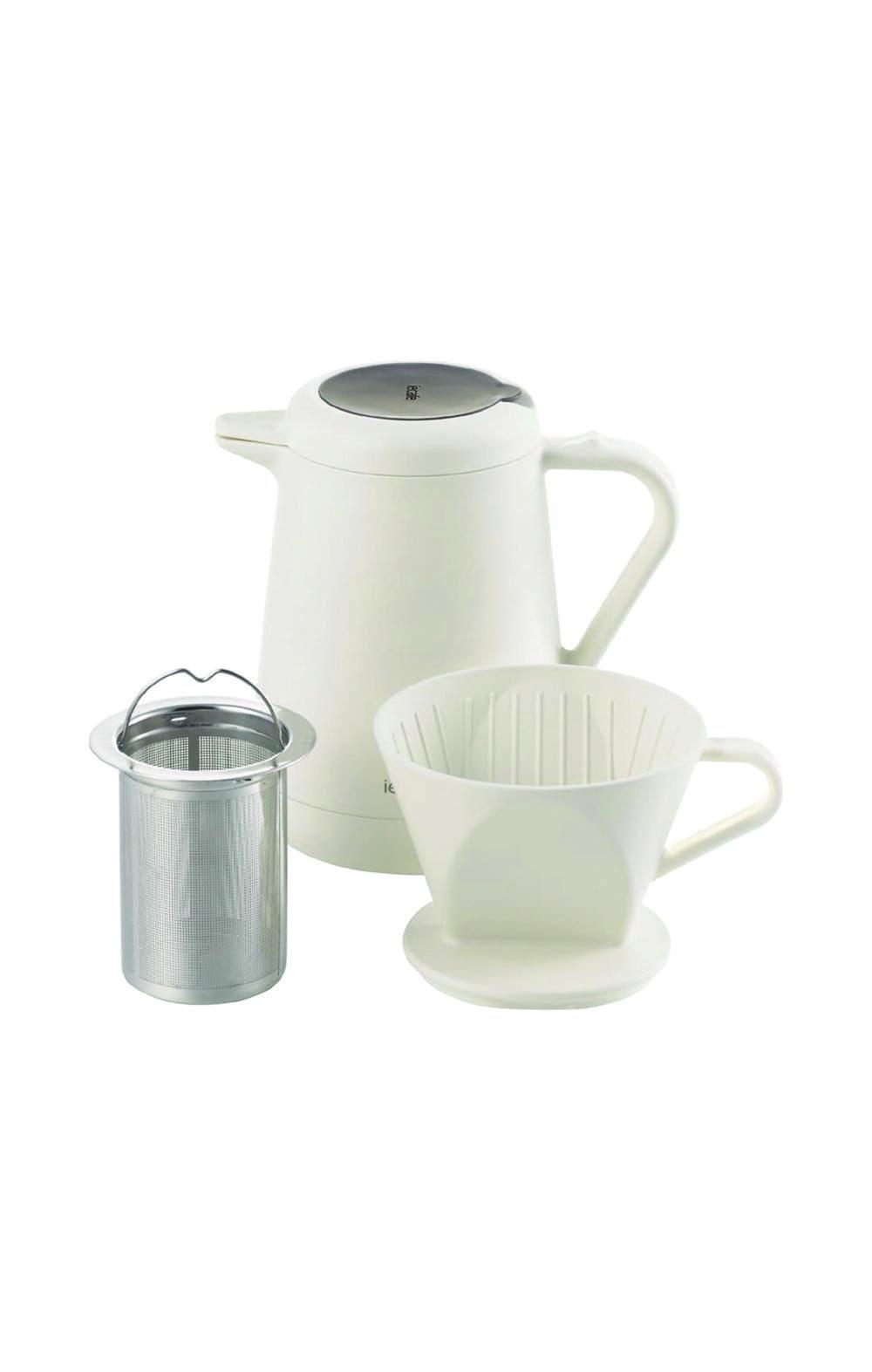Pearl Metal HB-1074 Ie coffee pot insulation & coffee pot 620ml white  سيت ترمس مع كوب