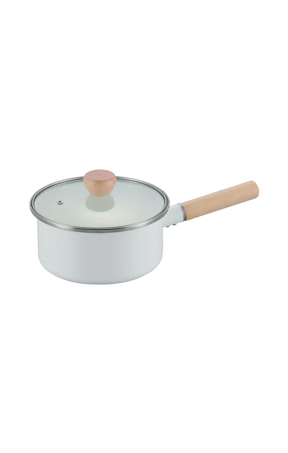 Pearl Metal HB-4943 Single Handed Pot White 18 cm وعاء متعدد الأستخدام