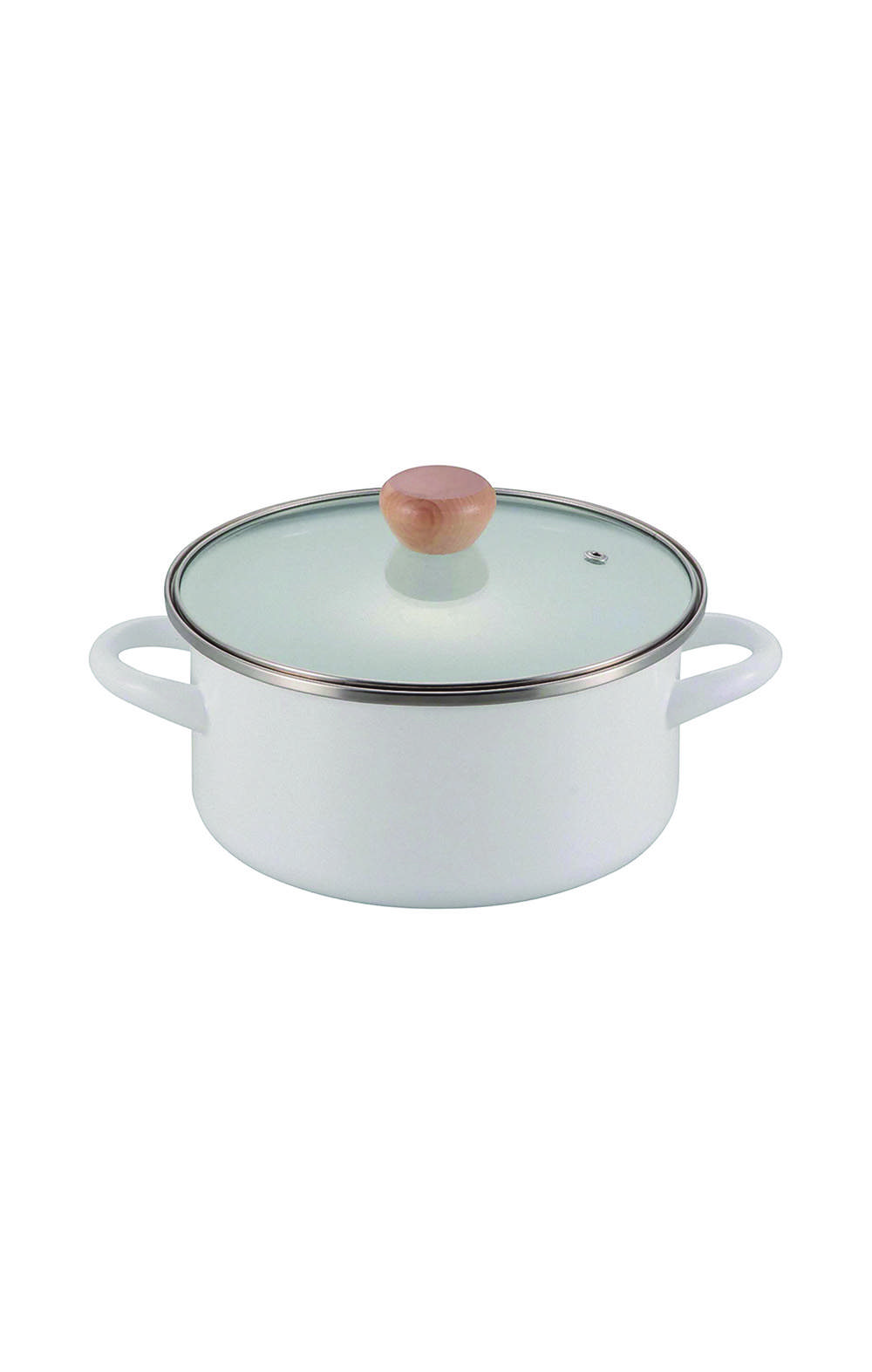 Pearl MetalHB-4944 Two-Handed Pot, White 20 cm قدر متعدد الأستخدام