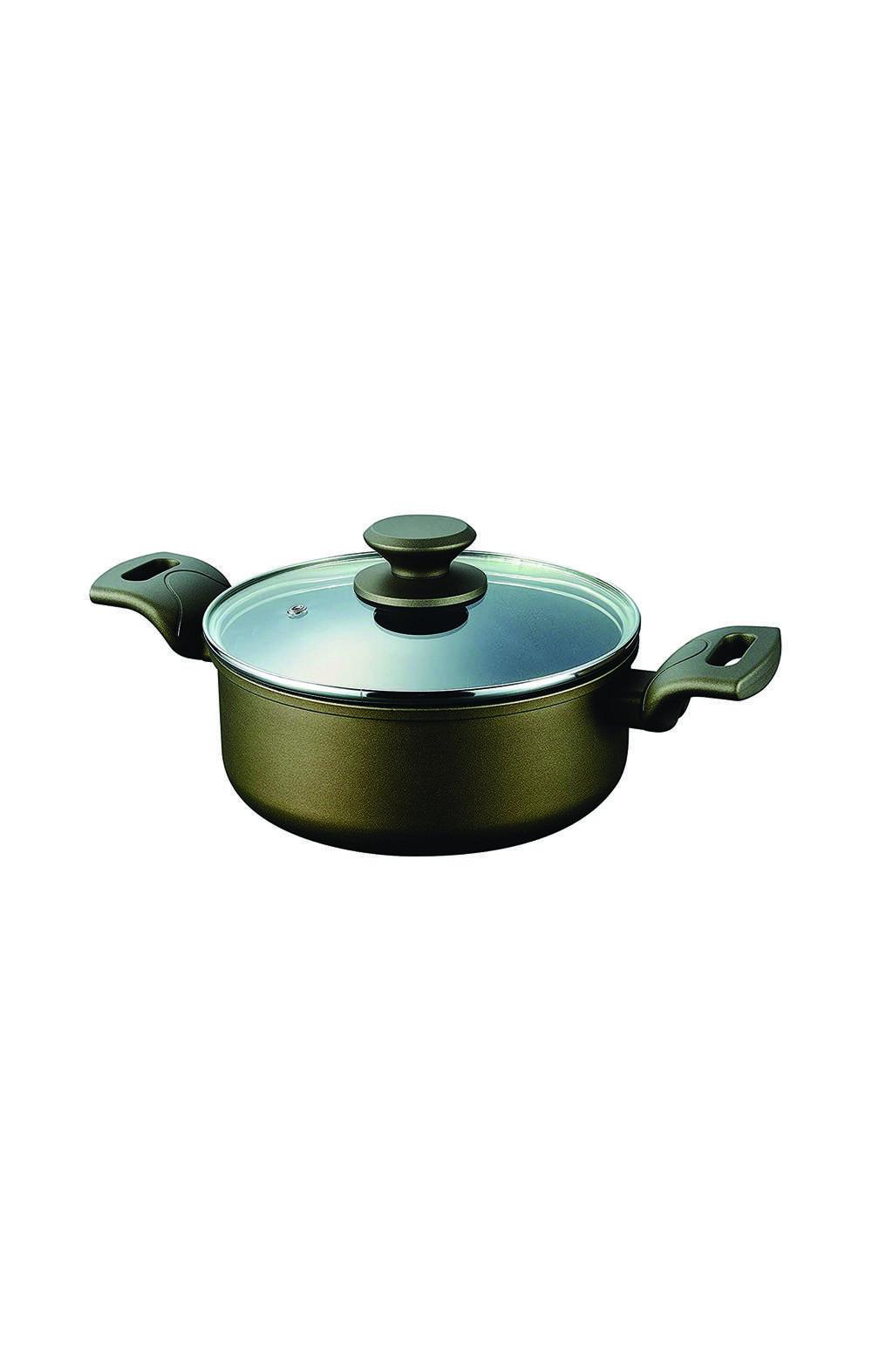 Pearl Metal HB-5511  Double-Handled Pot 22 cm قدر مع غطاء بايركس